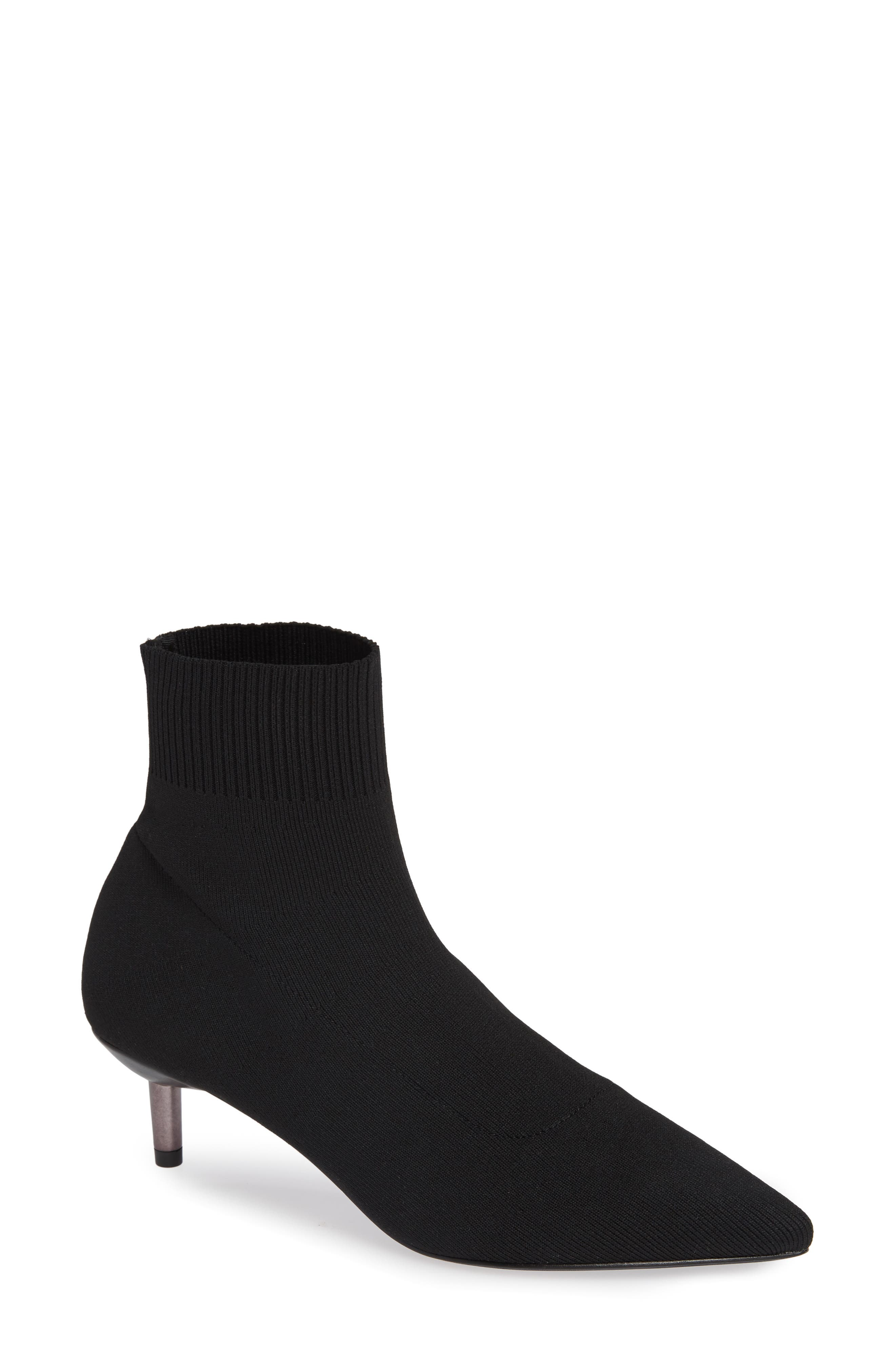 Betti Stretch Bootie,                         Main,                         color, BLACK KNIT FABRIC