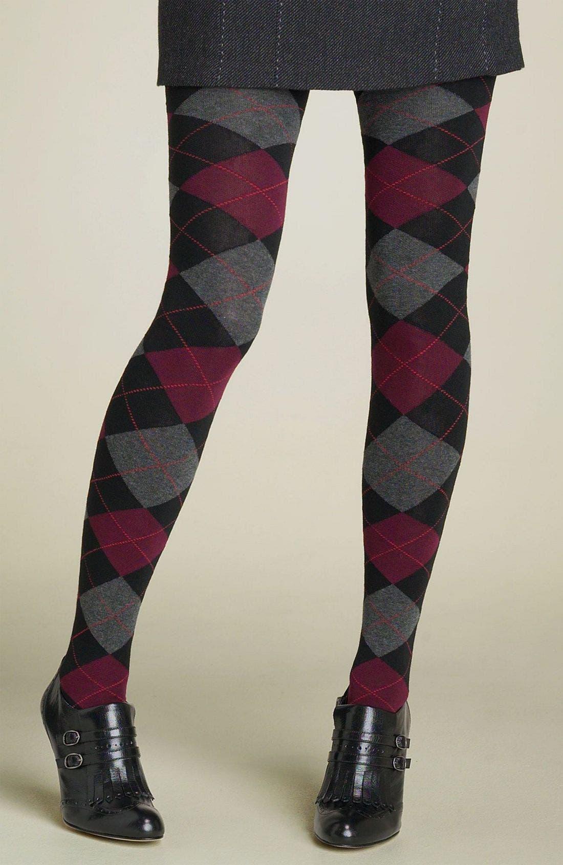 HUE,                             Argyle Sweater Tights,                             Main thumbnail 1, color,                             001