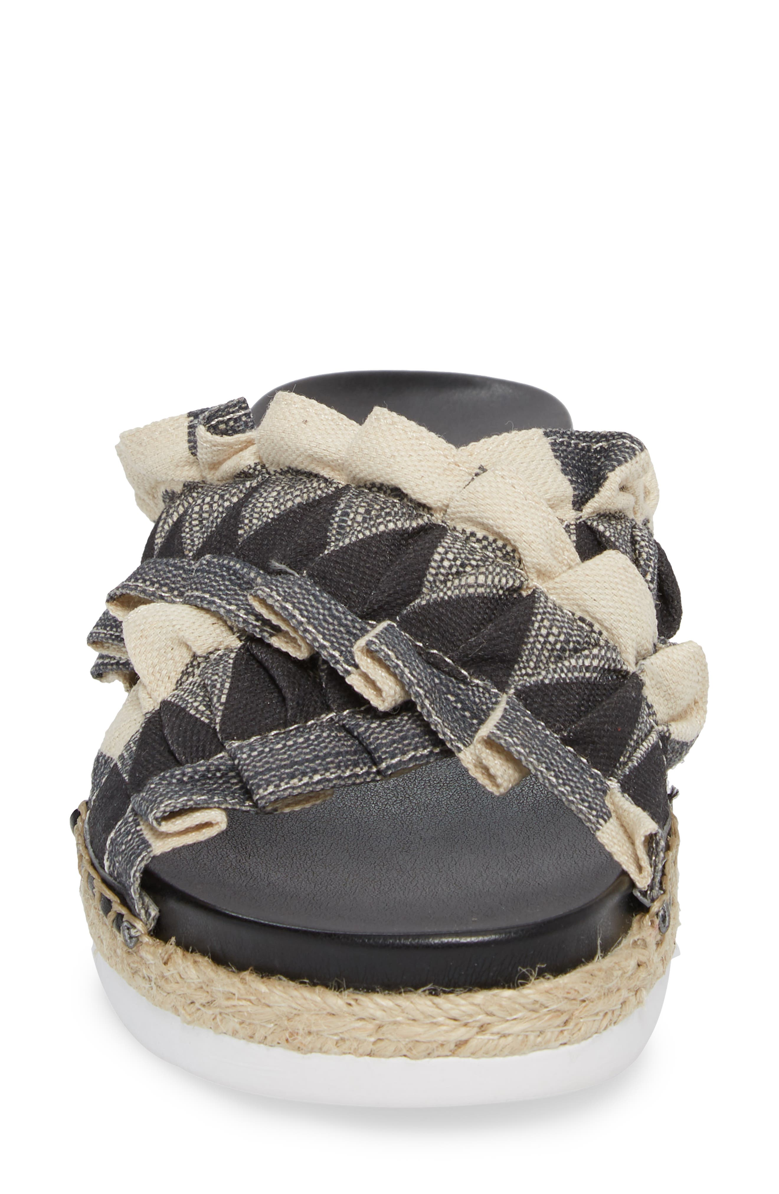 Salyn Slide Sandal,                             Alternate thumbnail 4, color,                             BLACK GINGHAM LINEN FABRIC