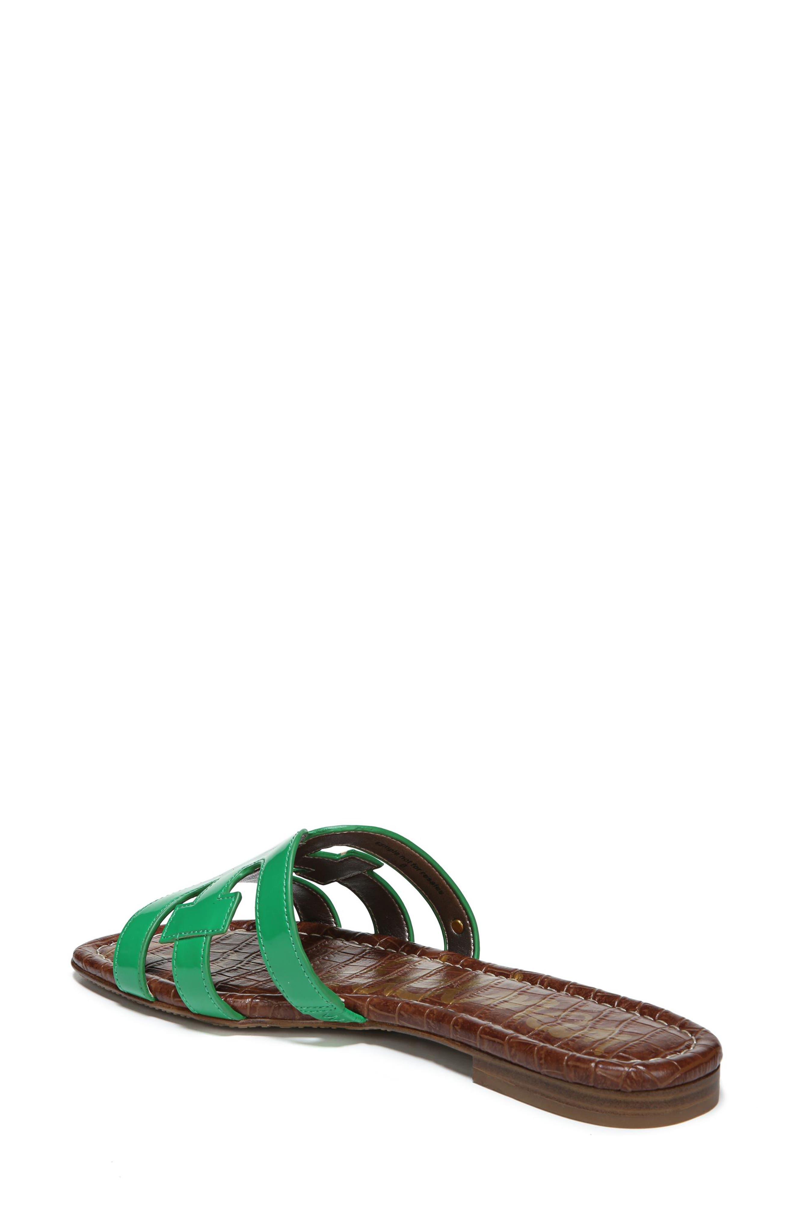 Bay Cutout Slide Sandal,                             Alternate thumbnail 2, color,                             LEAF GREEN PATENT LEATHER