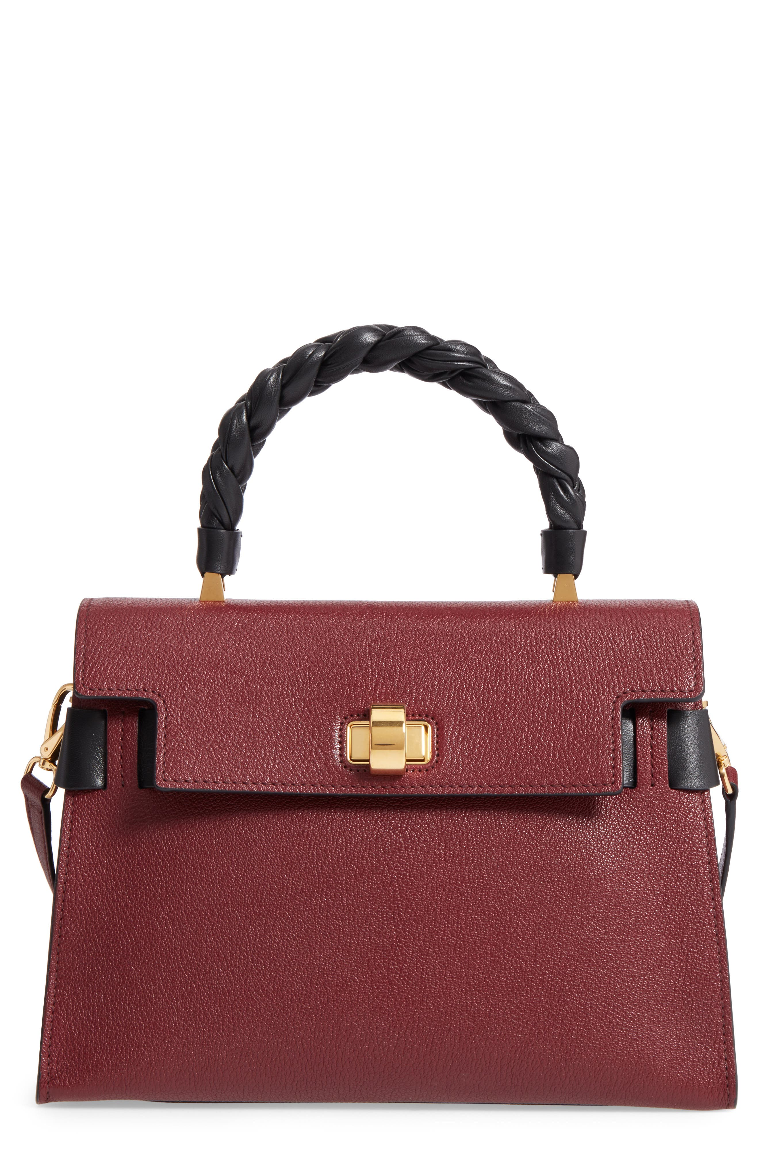 Madras Click Goatskin Leather Satchel,                         Main,                         color, 930