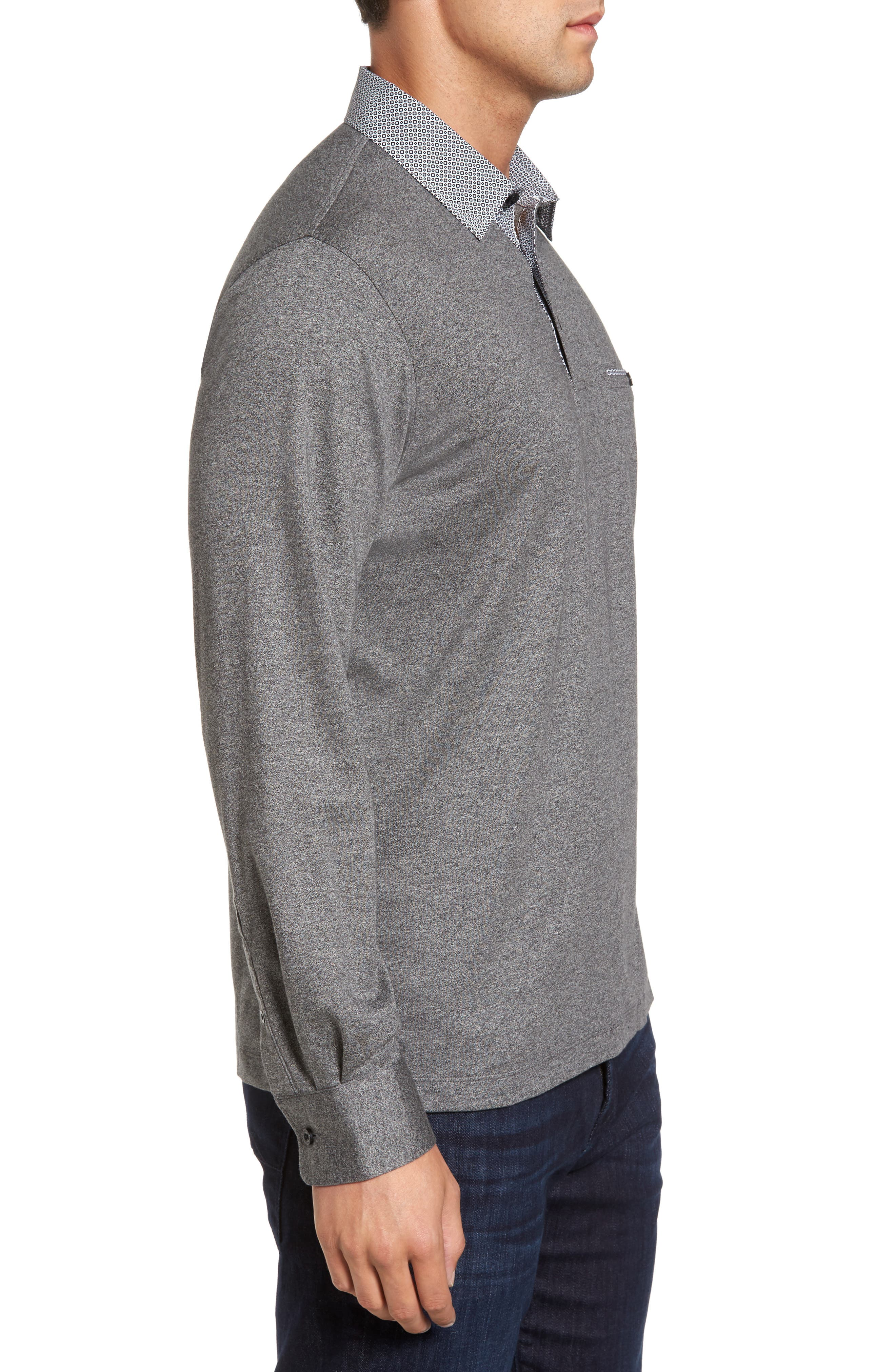 Long Sleeve Woven Trim Polo,                             Alternate thumbnail 3, color,                             001