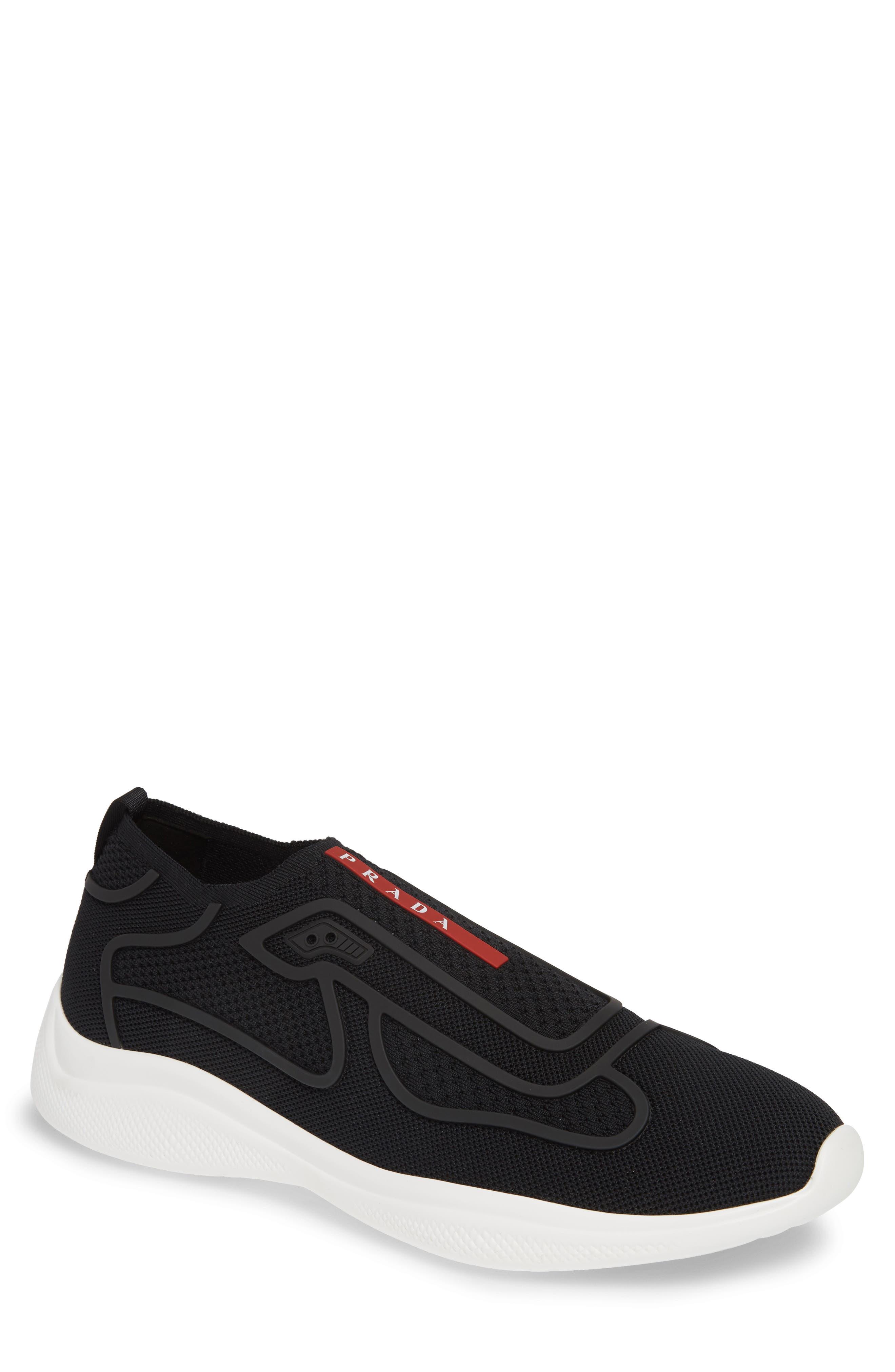 PRADA Laceless Logo Sneaker, Main, color, NERO