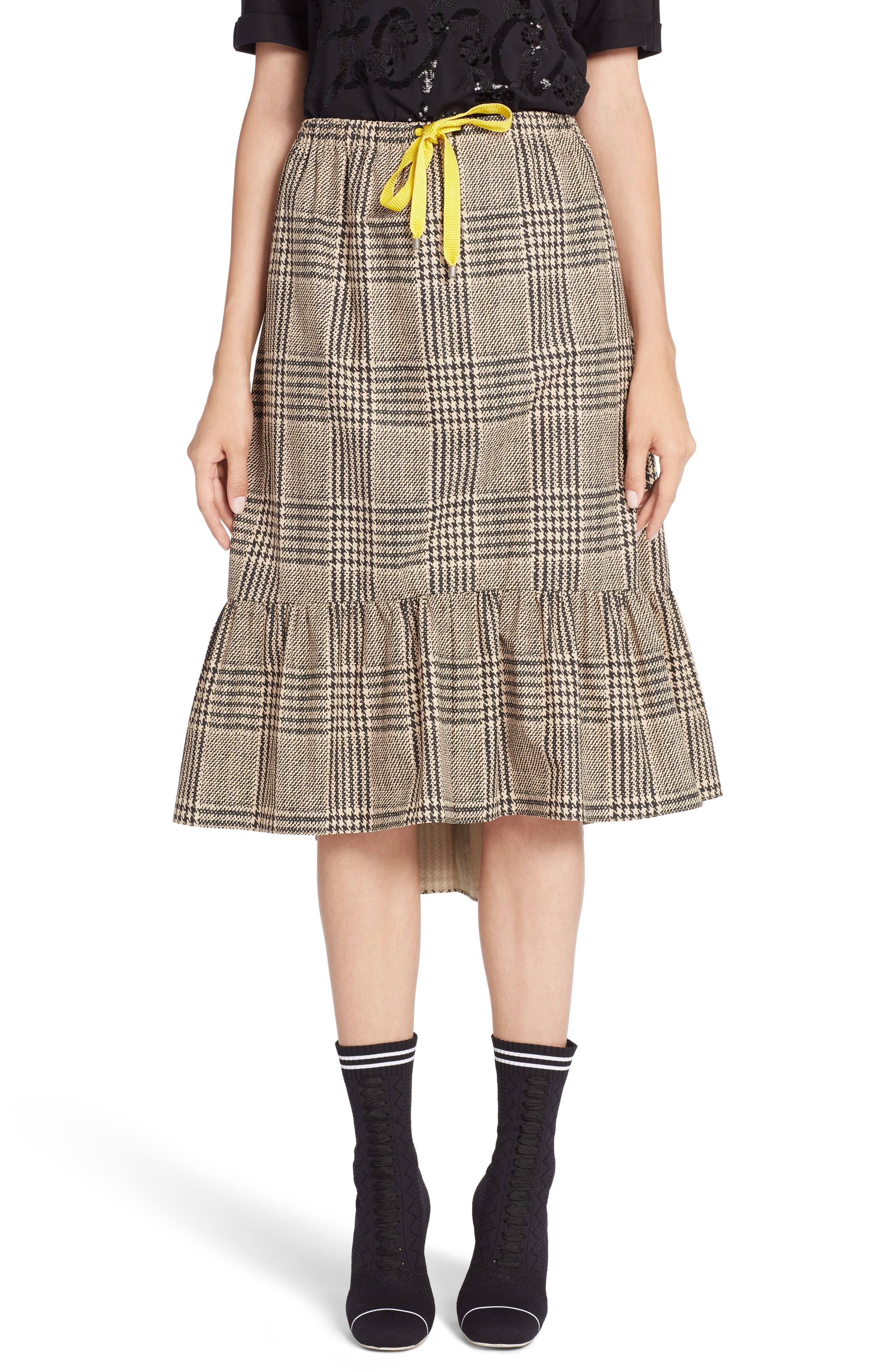 Prince of Wales Ruffle Midi Skirt,                             Main thumbnail 1, color,                             001
