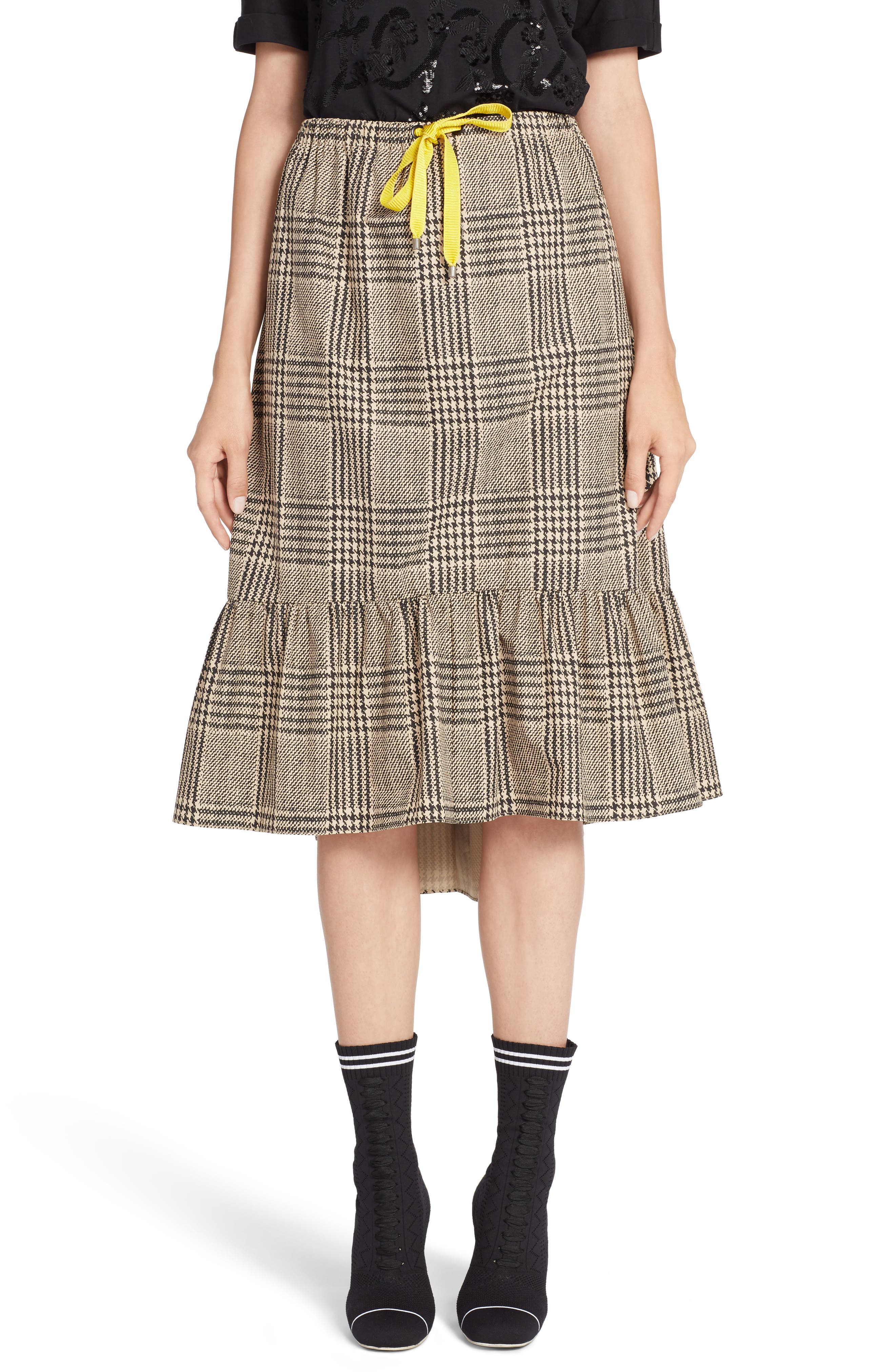Prince of Wales Ruffle Midi Skirt,                         Main,                         color, 001