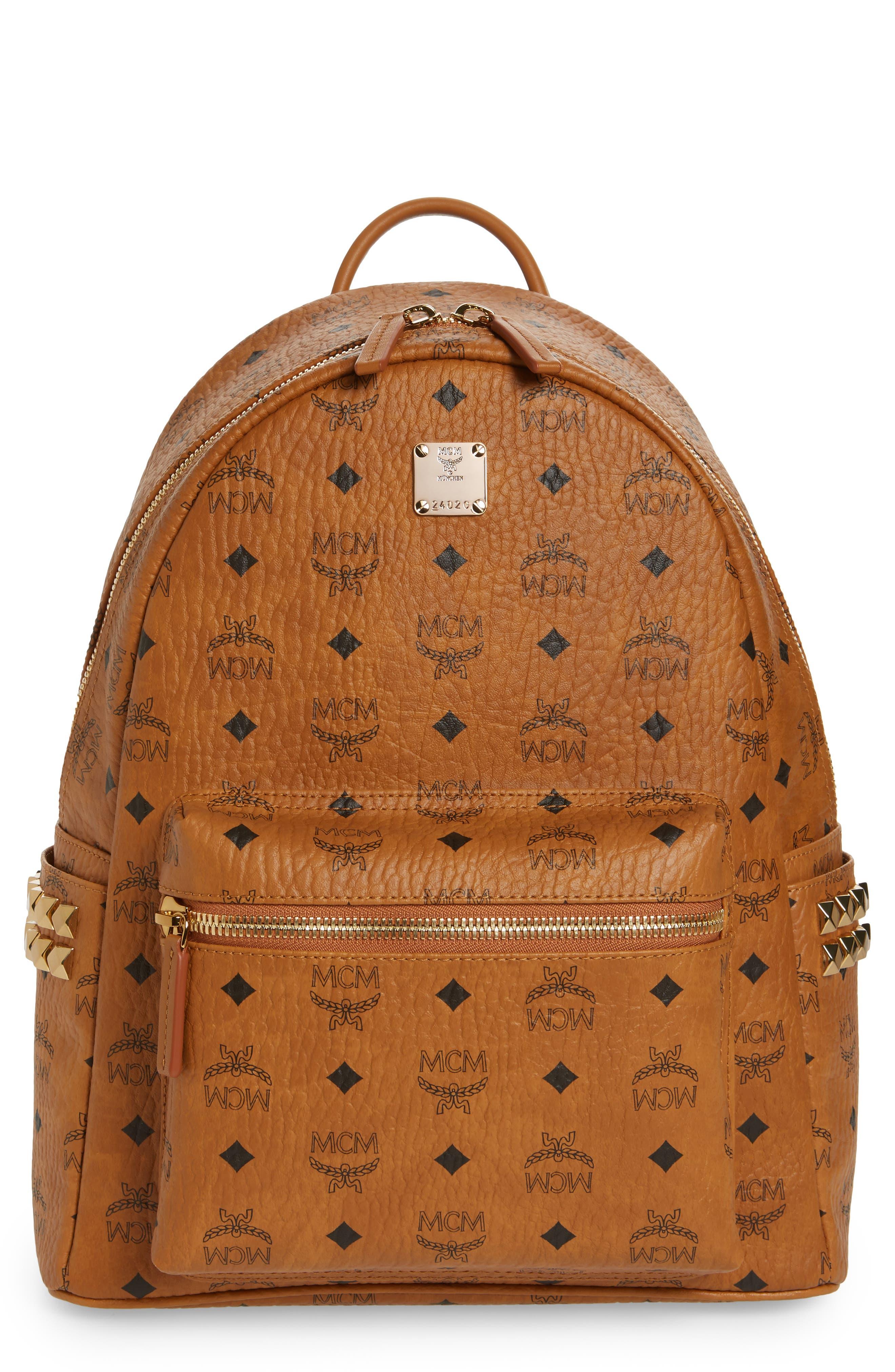 Mcm Medium Stark Side Stud Coated Canvas Backpack  Brown