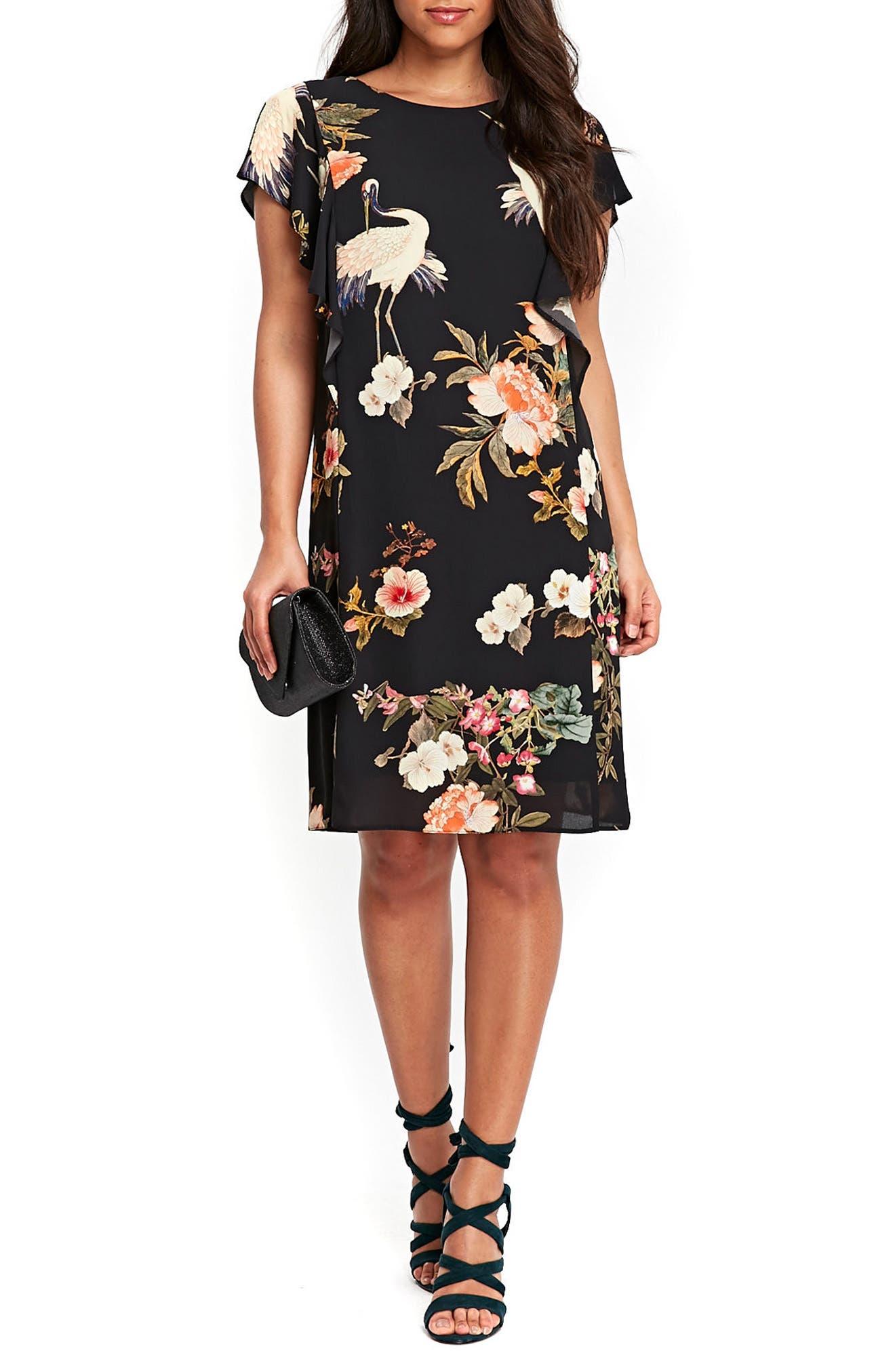Floral Bird Print Frill Dress,                         Main,                         color, 001