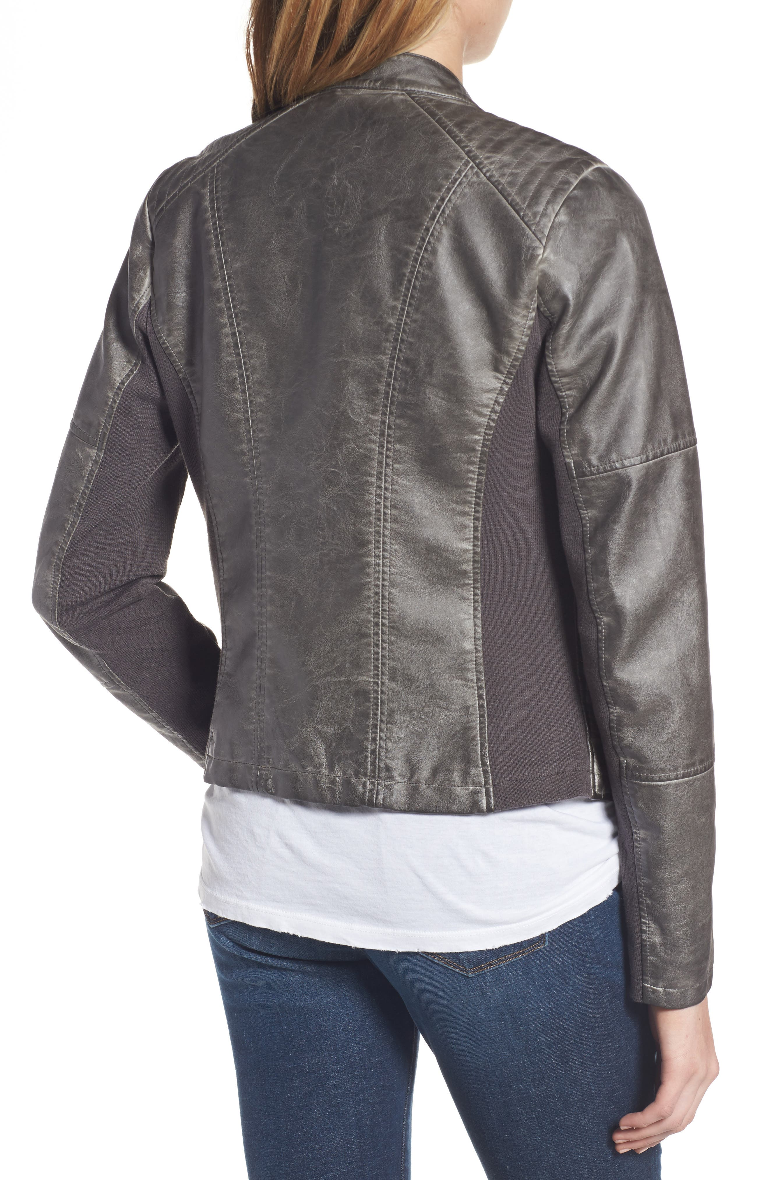 Faux Leather Jacket with Detachable Jersey Hood,                             Alternate thumbnail 2, color,                             020