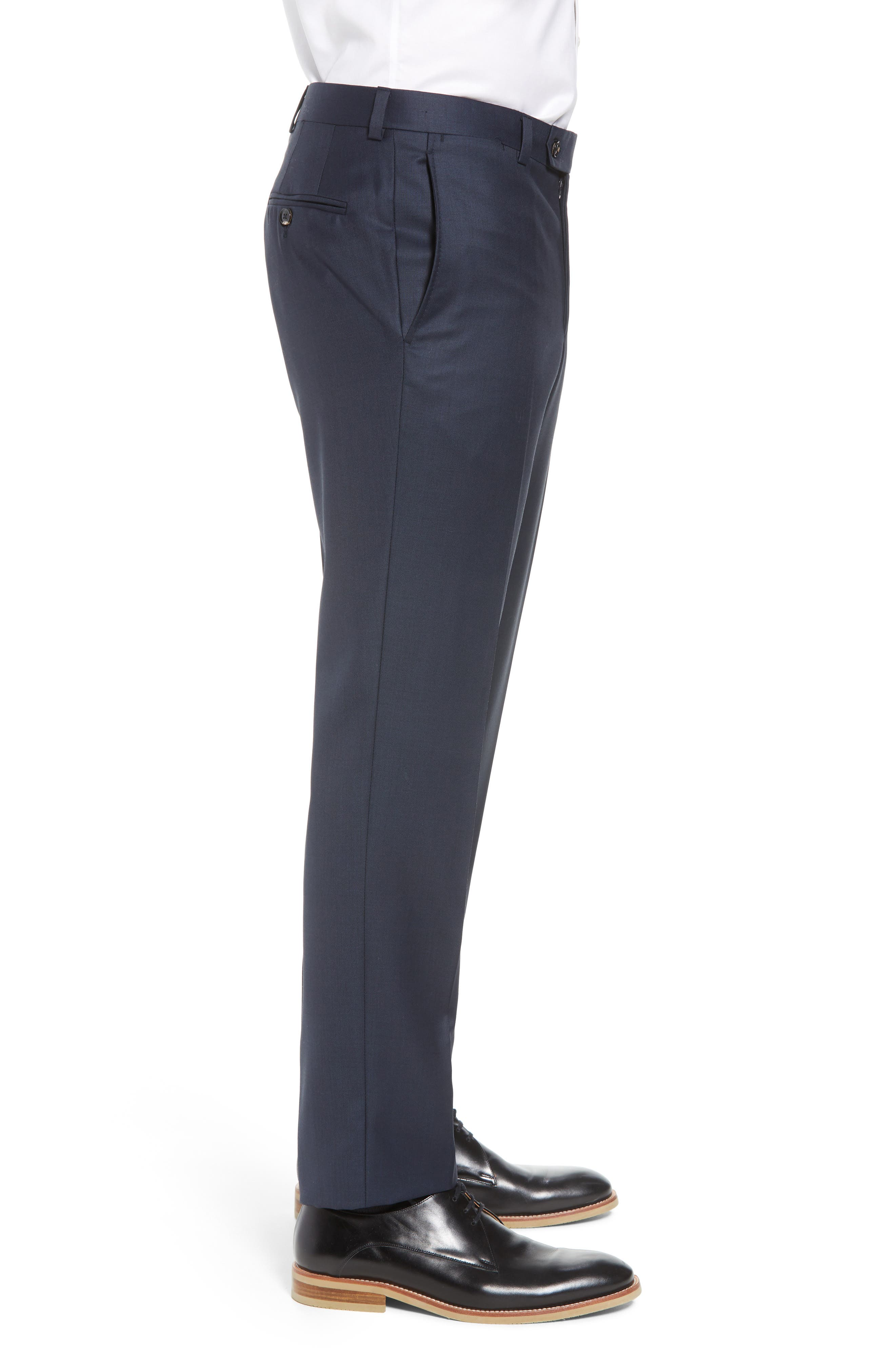 Jefferson Flat Front Wool Trousers,                             Alternate thumbnail 28, color,