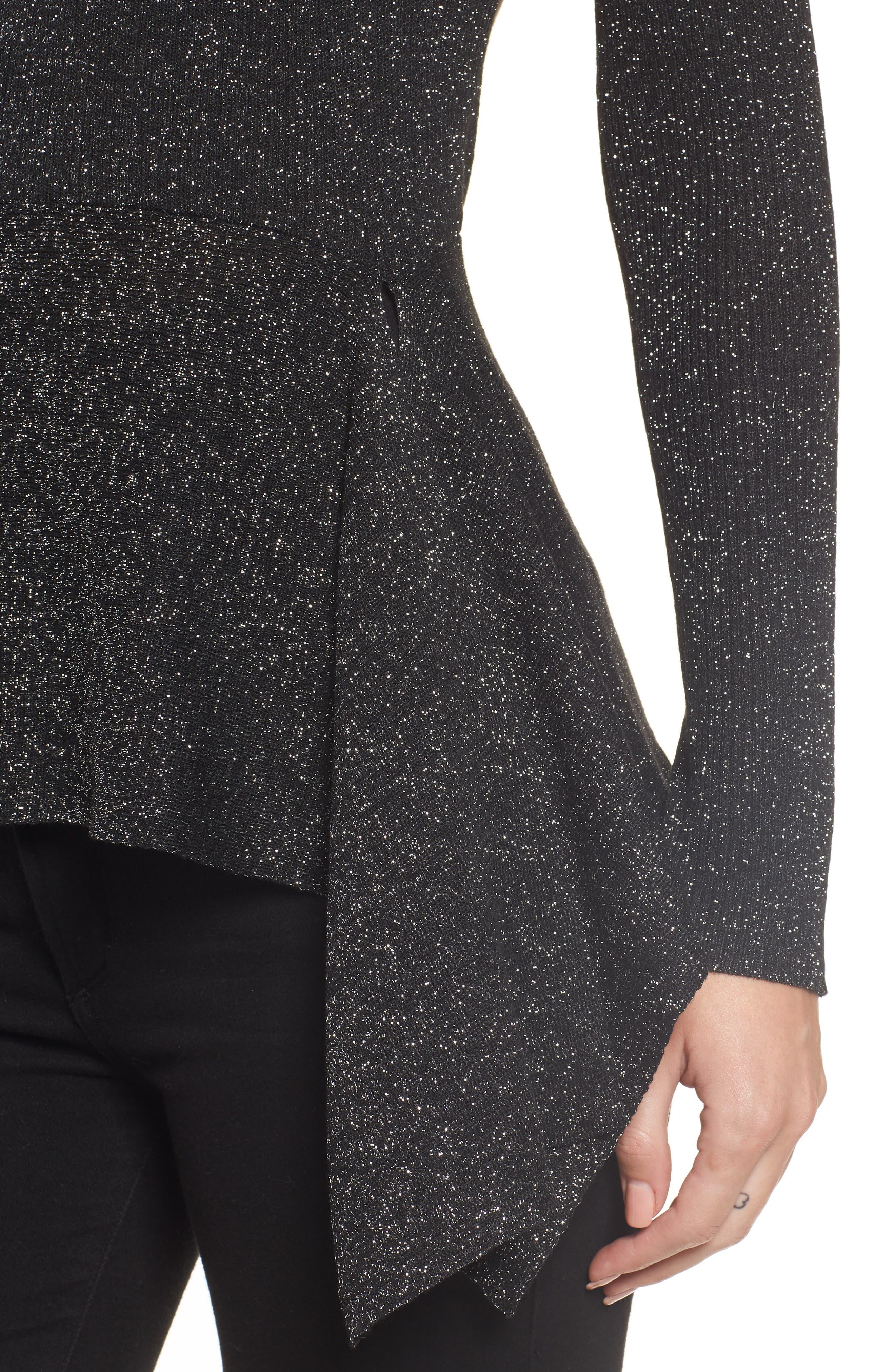 Drape Waist Sweater,                             Alternate thumbnail 4, color,                             BLACK- SILVER SPANGLE METALLIC