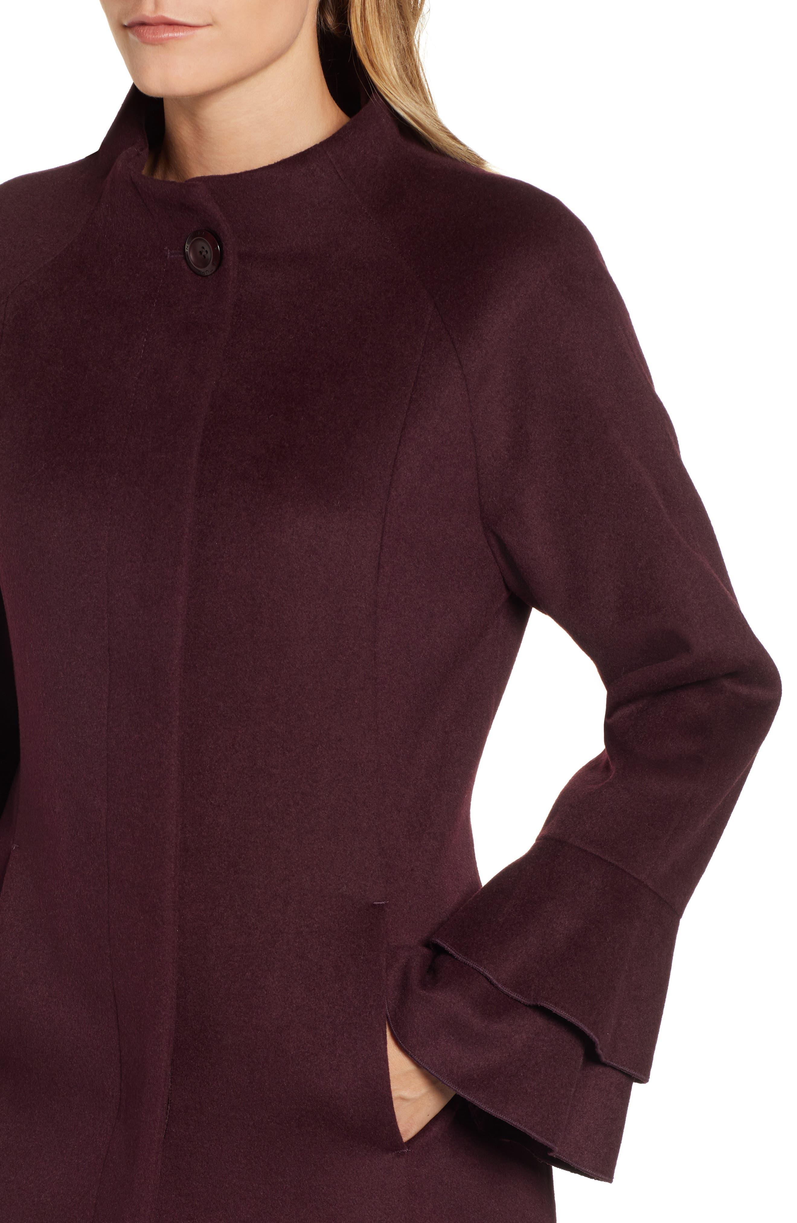 Sara Ruffle Cuff Wool Blend Coat,                             Alternate thumbnail 4, color,                             WINE
