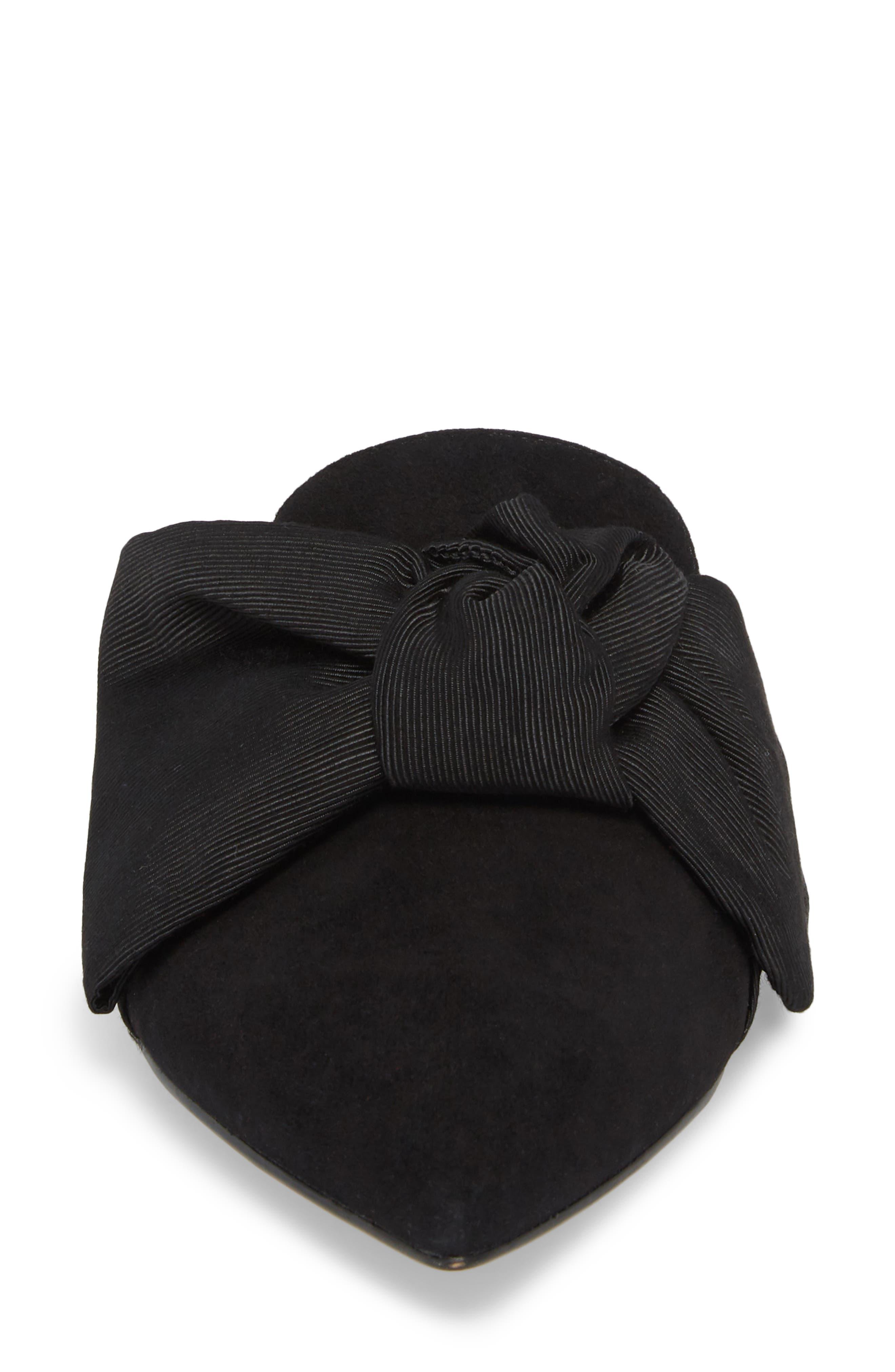 Cela Bow Mule,                             Alternate thumbnail 4, color,                             BLACK SUEDE