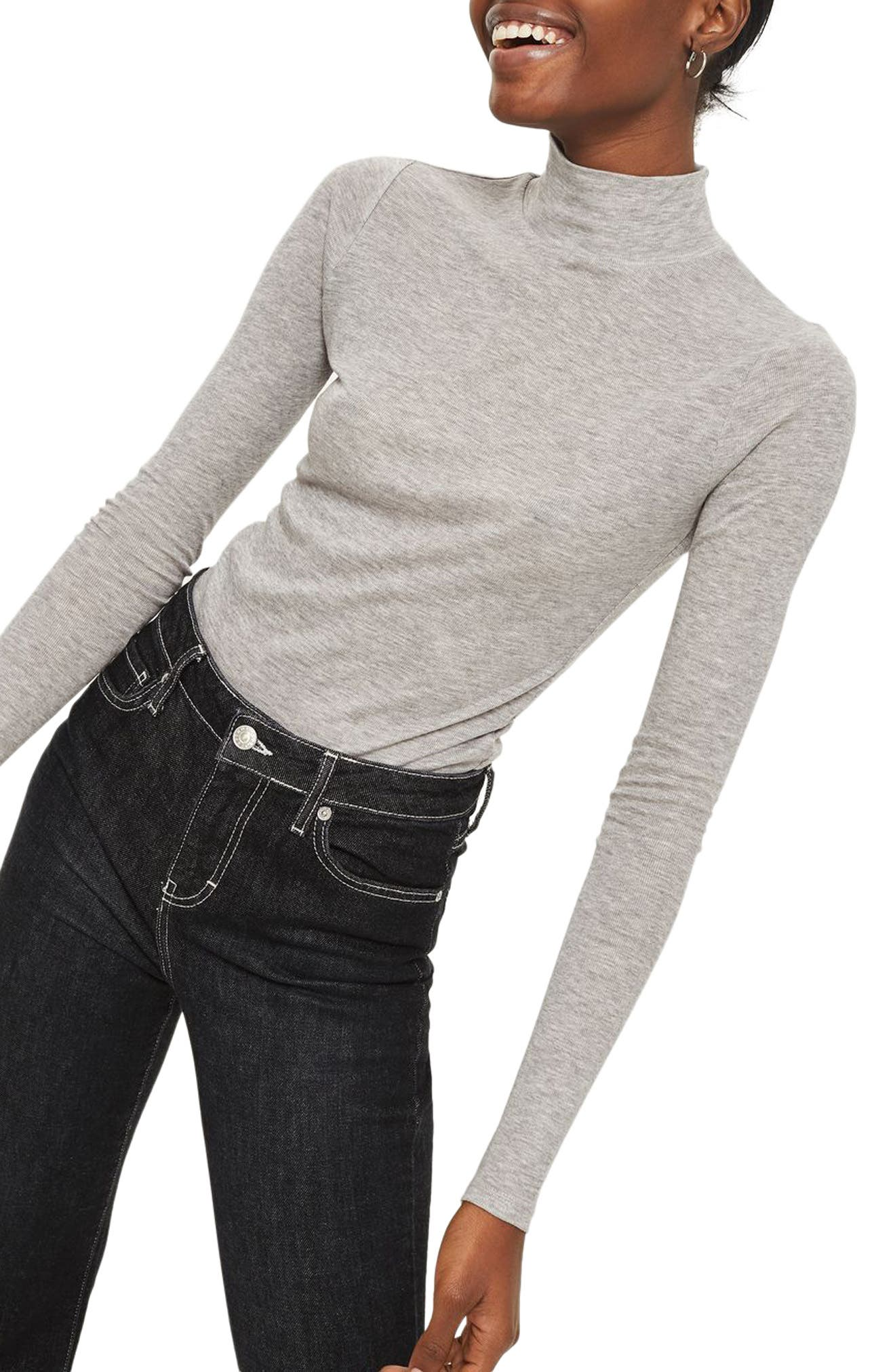 Ribbed Turtleneck Top,                             Main thumbnail 2, color,