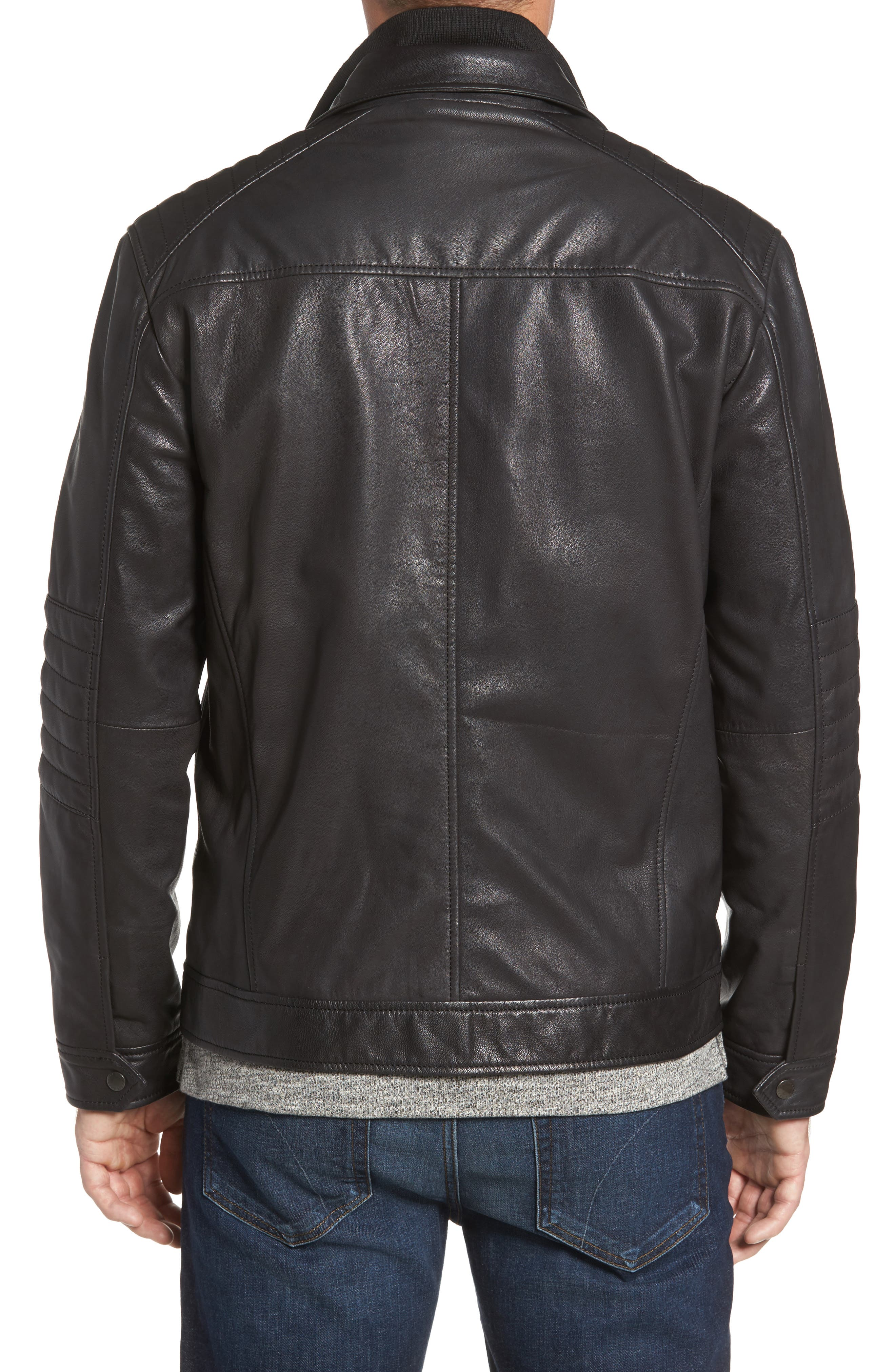 COLE HAAN,                             Washed Leather Moto Jacket with Knit Bib,                             Alternate thumbnail 2, color,                             001