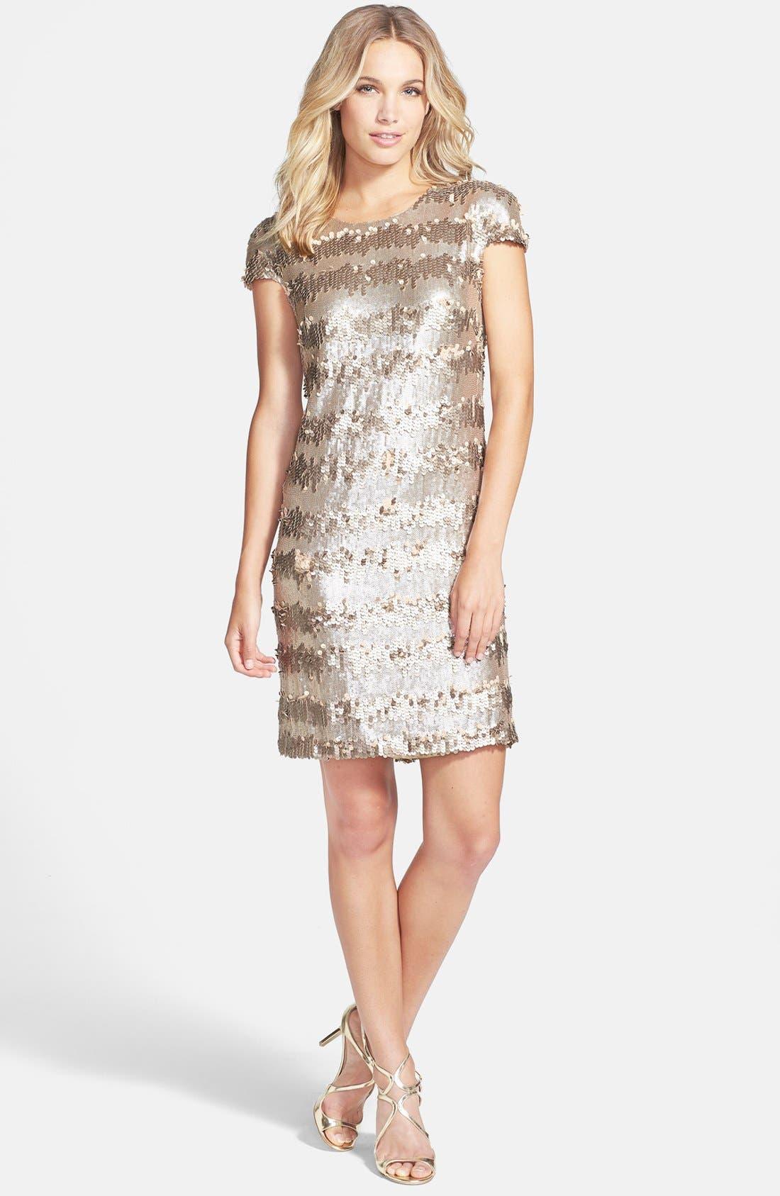 Gold Paillette & Sequin Shift Dress,                             Alternate thumbnail 3, color,                             710