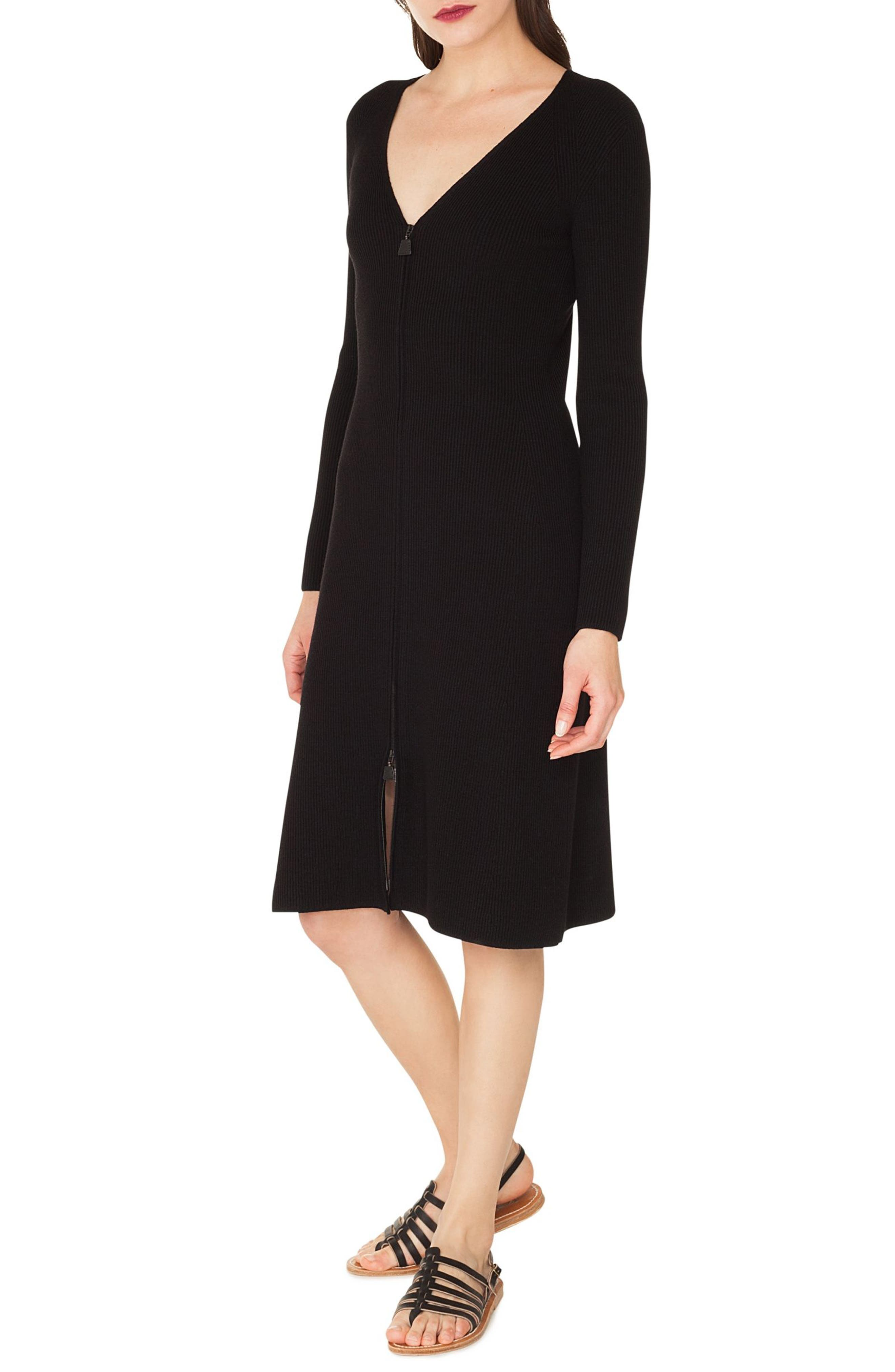 Rib Knit Stretch Wool & Silk Dress,                             Alternate thumbnail 3, color,                             BLACK