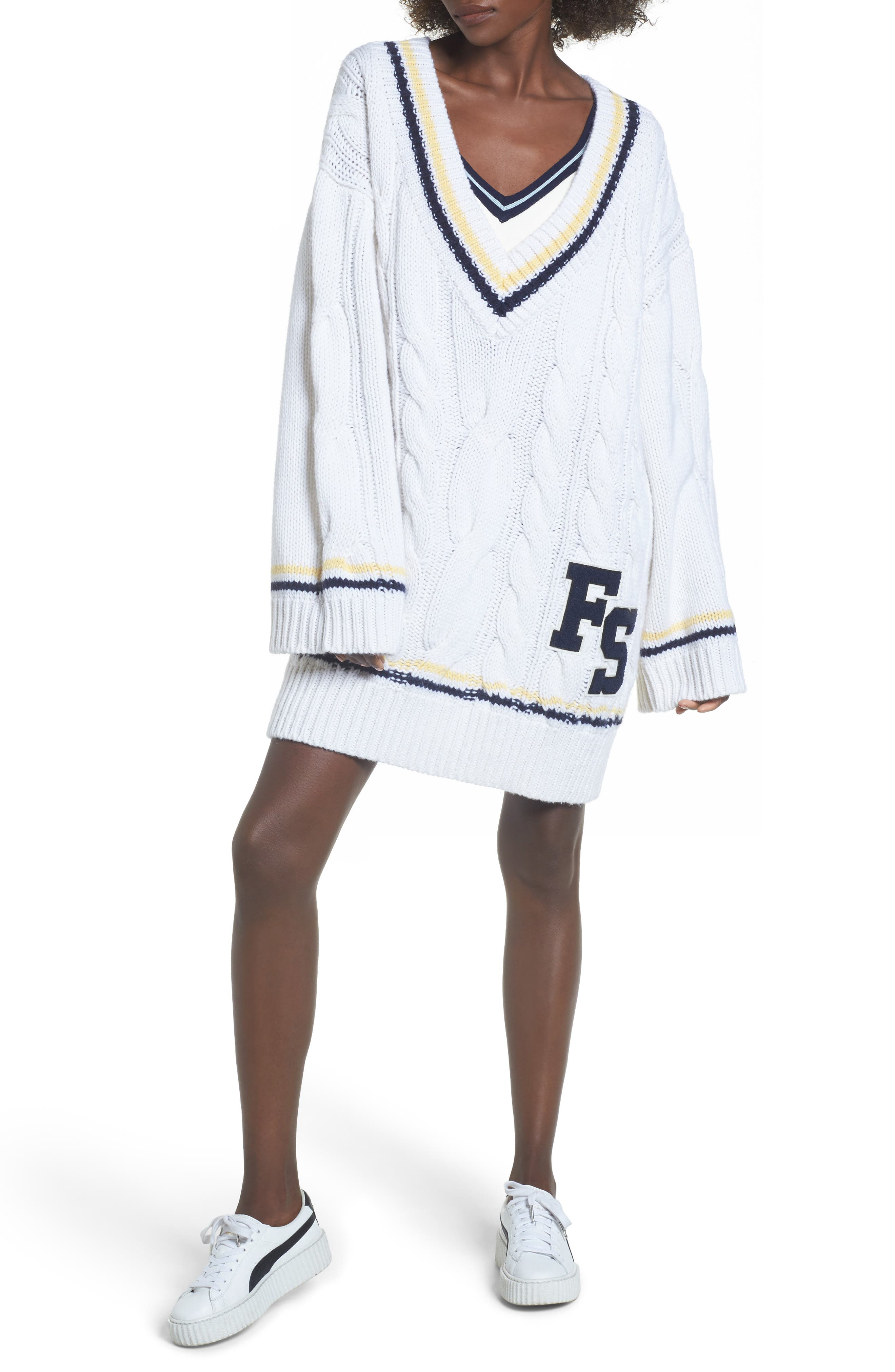PUMA by Rihanna Longline Cable Knit Sweater,                             Main thumbnail 1, color,                             100