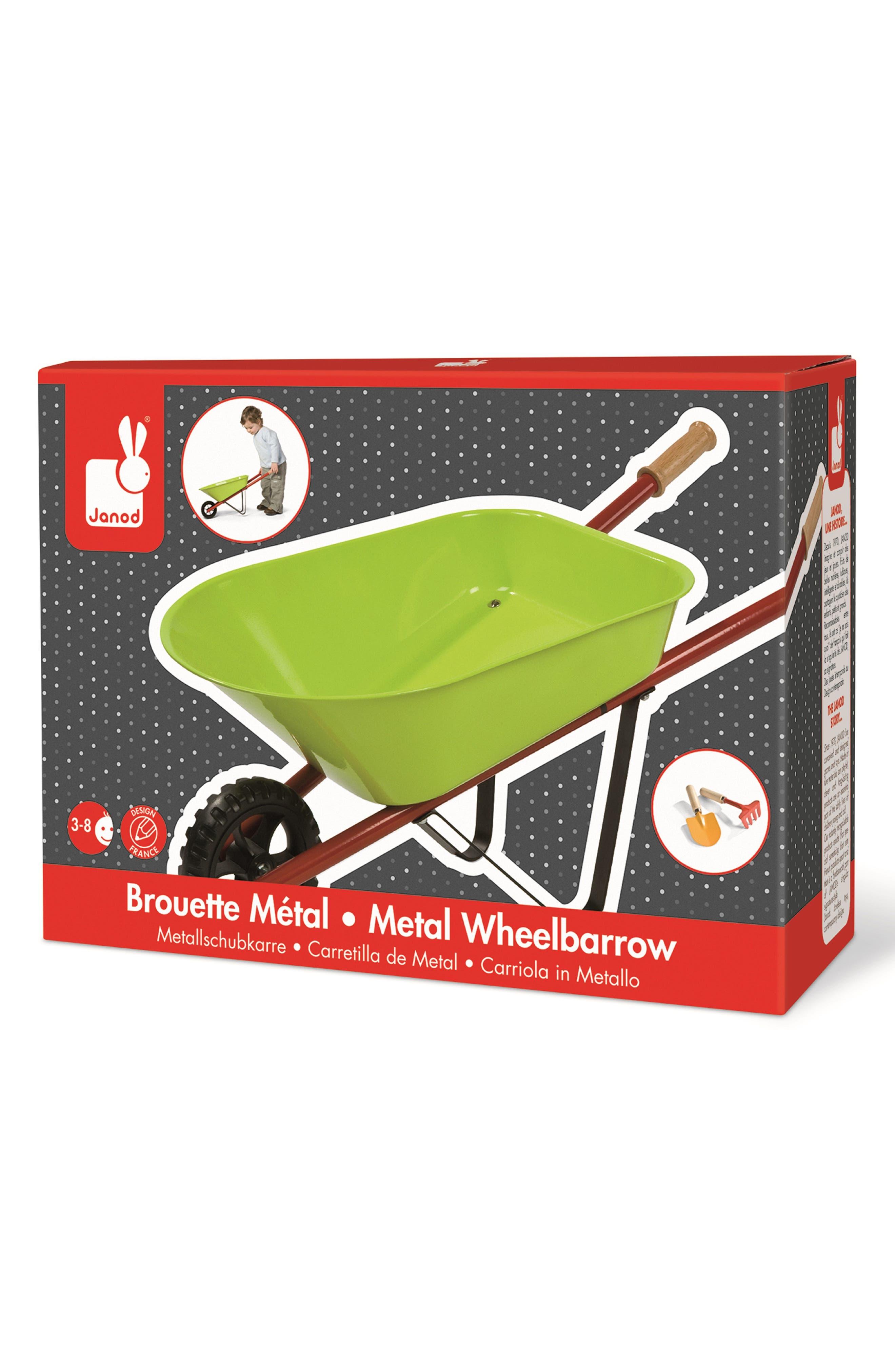 Metal Wheelbarrow Set,                             Alternate thumbnail 3, color,                             GREEN