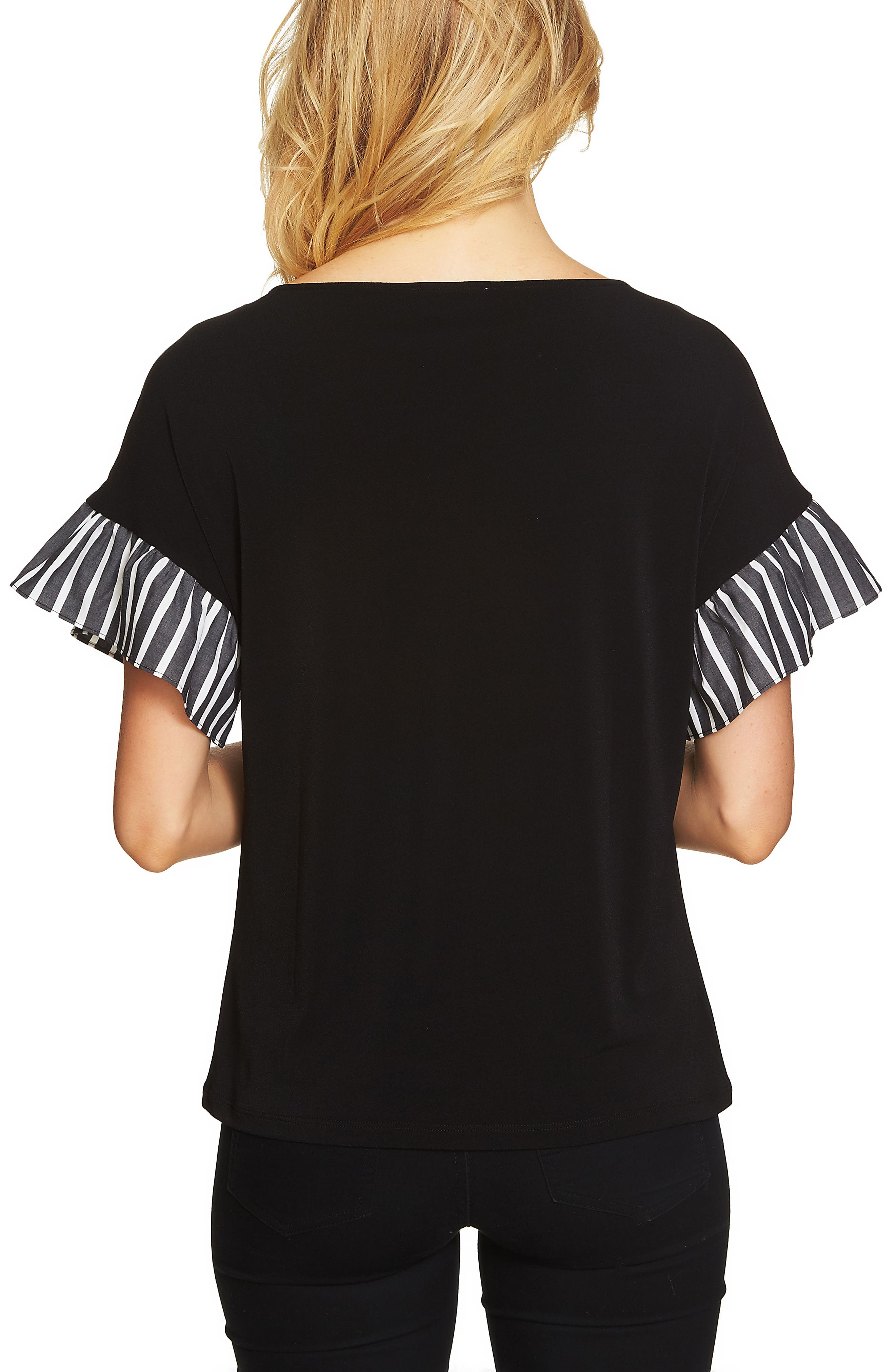 Stripe Ruffle Sleeve Top,                             Alternate thumbnail 2, color,                             016