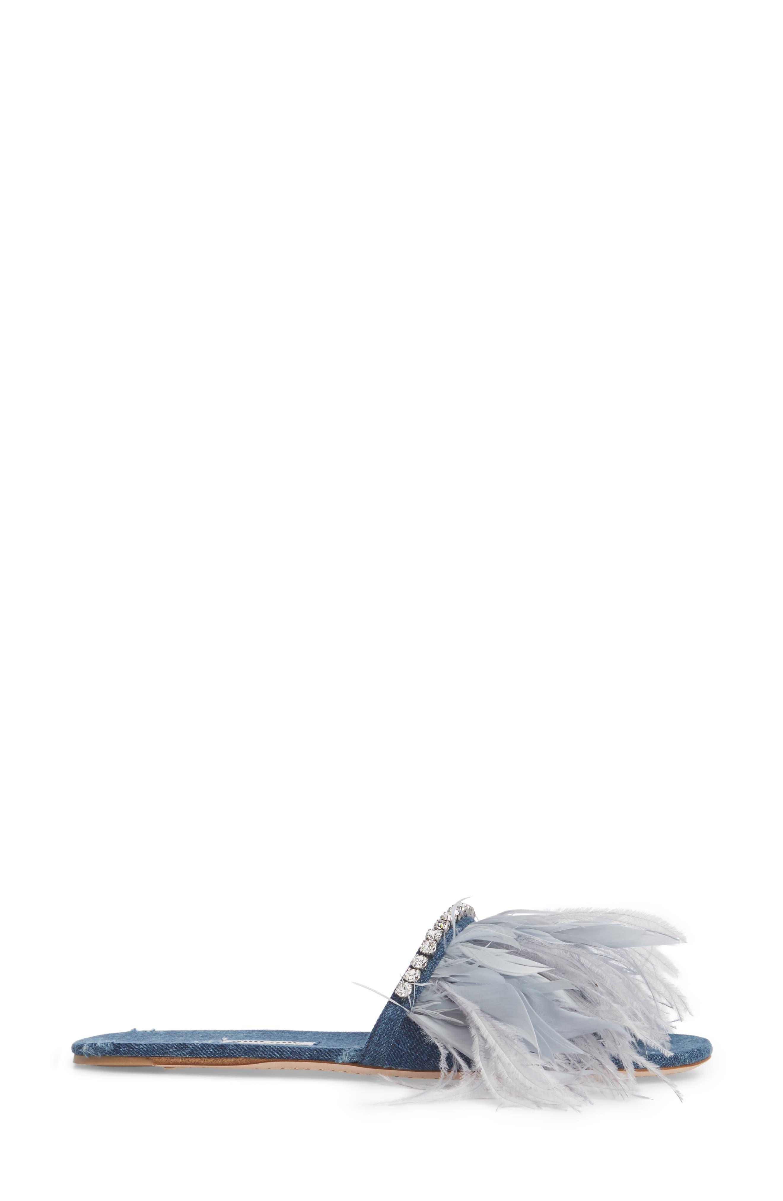 Feather Embellished Slide Sandal,                             Alternate thumbnail 3, color,                             400