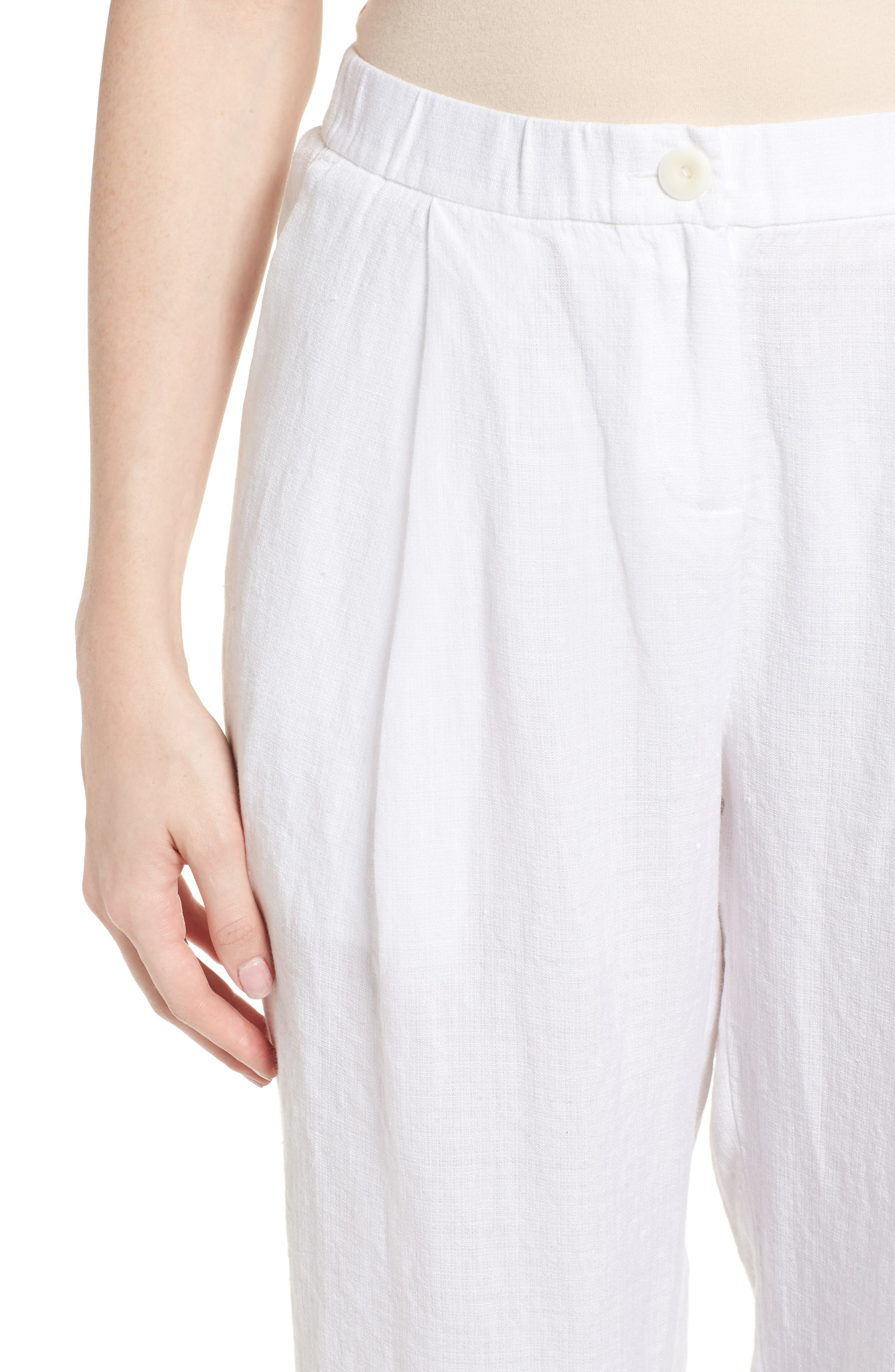 Pleated Linen Blend Ankle Trousers,                             Alternate thumbnail 9, color,