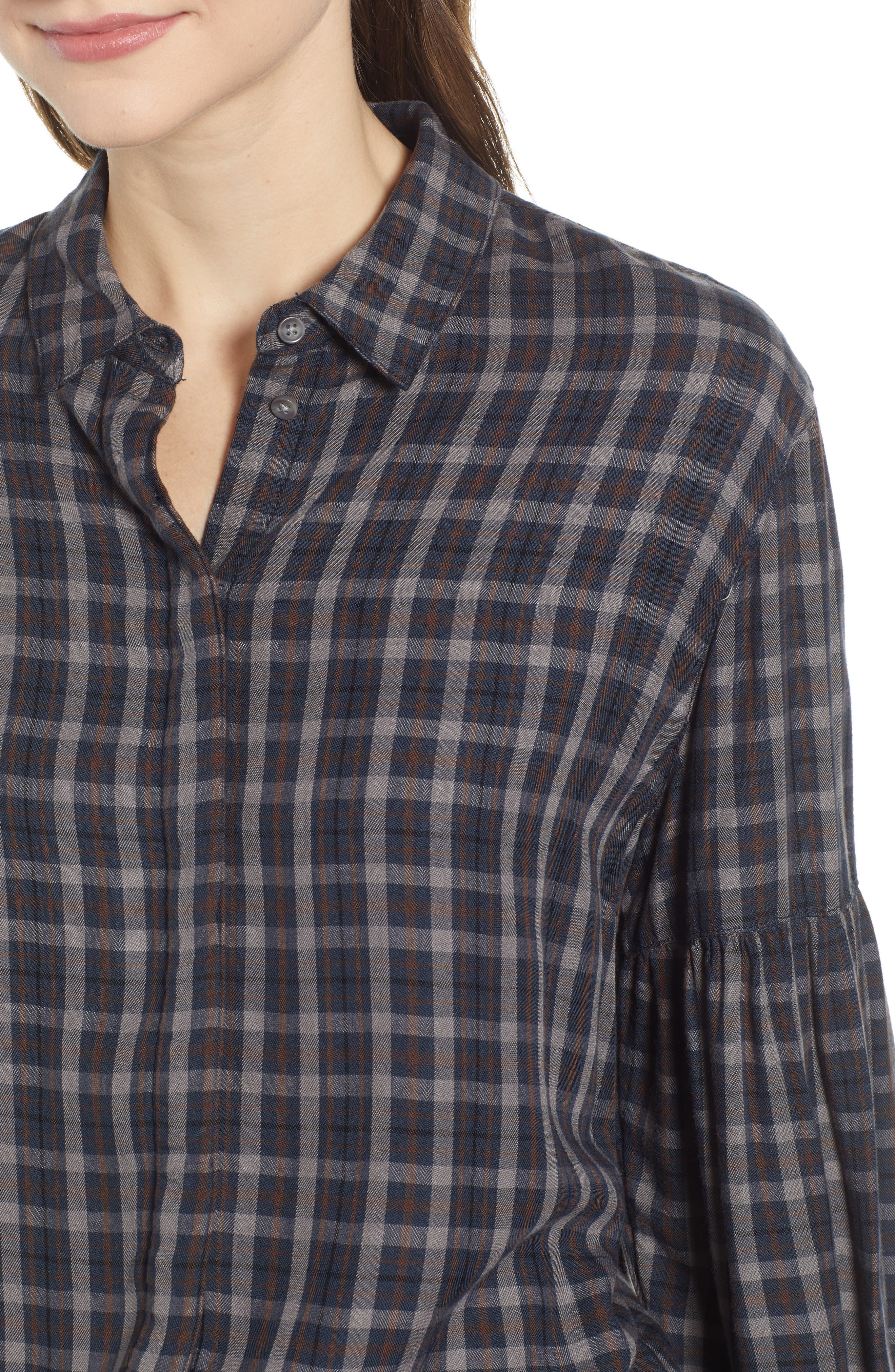 Puff Sleeve Boyfriend Shirt,                             Alternate thumbnail 4, color,                             BURGNDY RUSSET OPEN GLEN PLAID