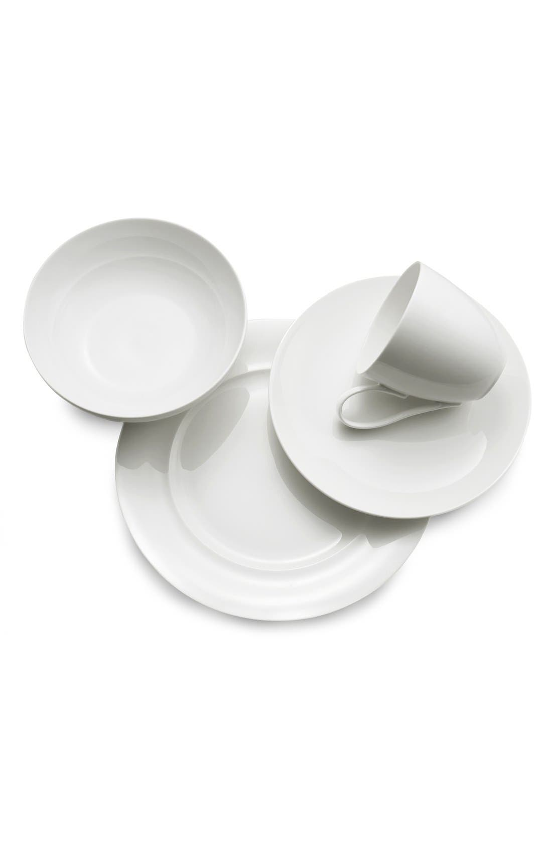 'Skye Collection' 4-Piece Bone China Place Setting,                             Alternate thumbnail 2, color,                             WHITE