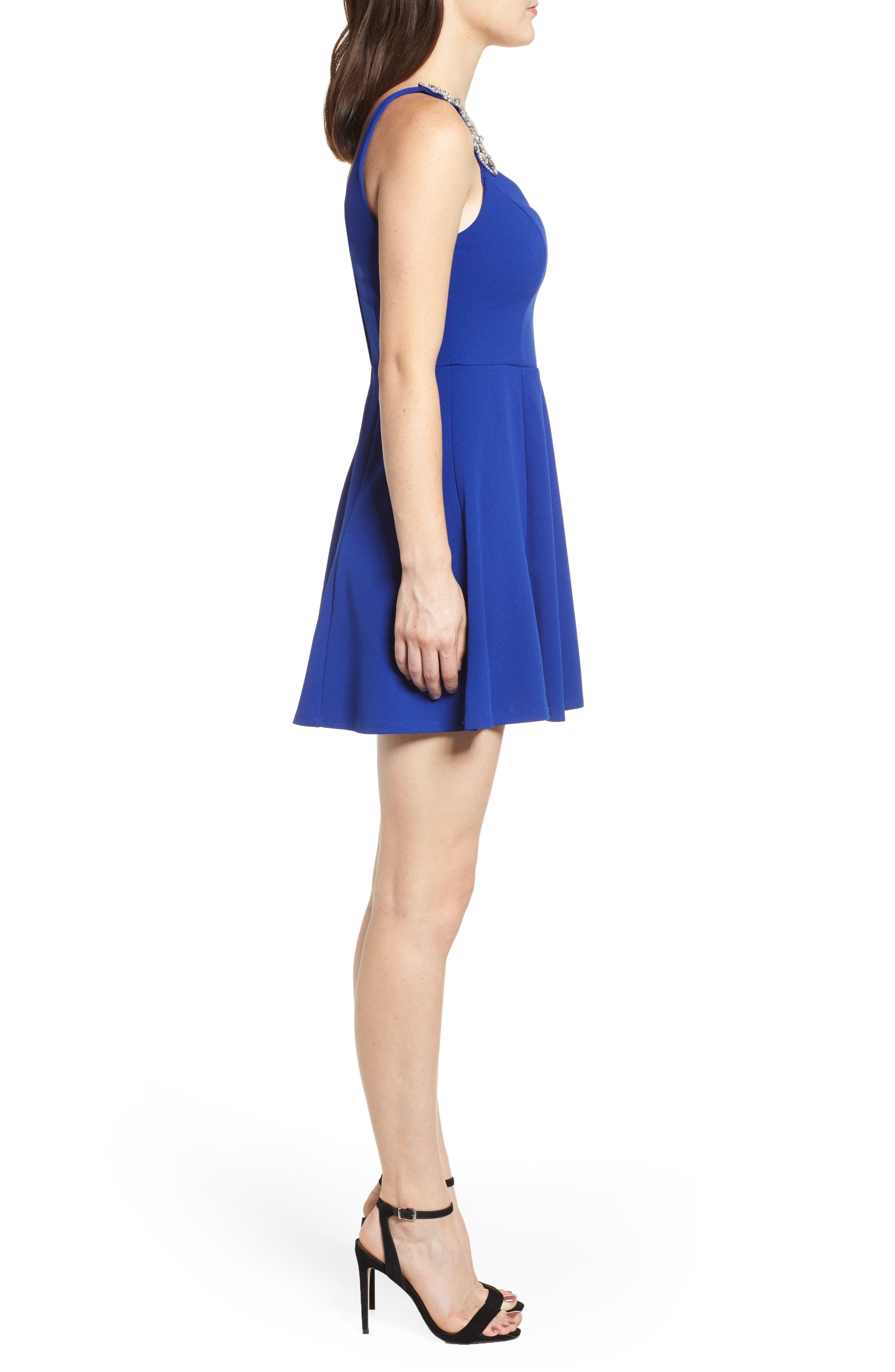 Jewel Strap Skater Dress,                             Alternate thumbnail 3, color,                             ROYAL