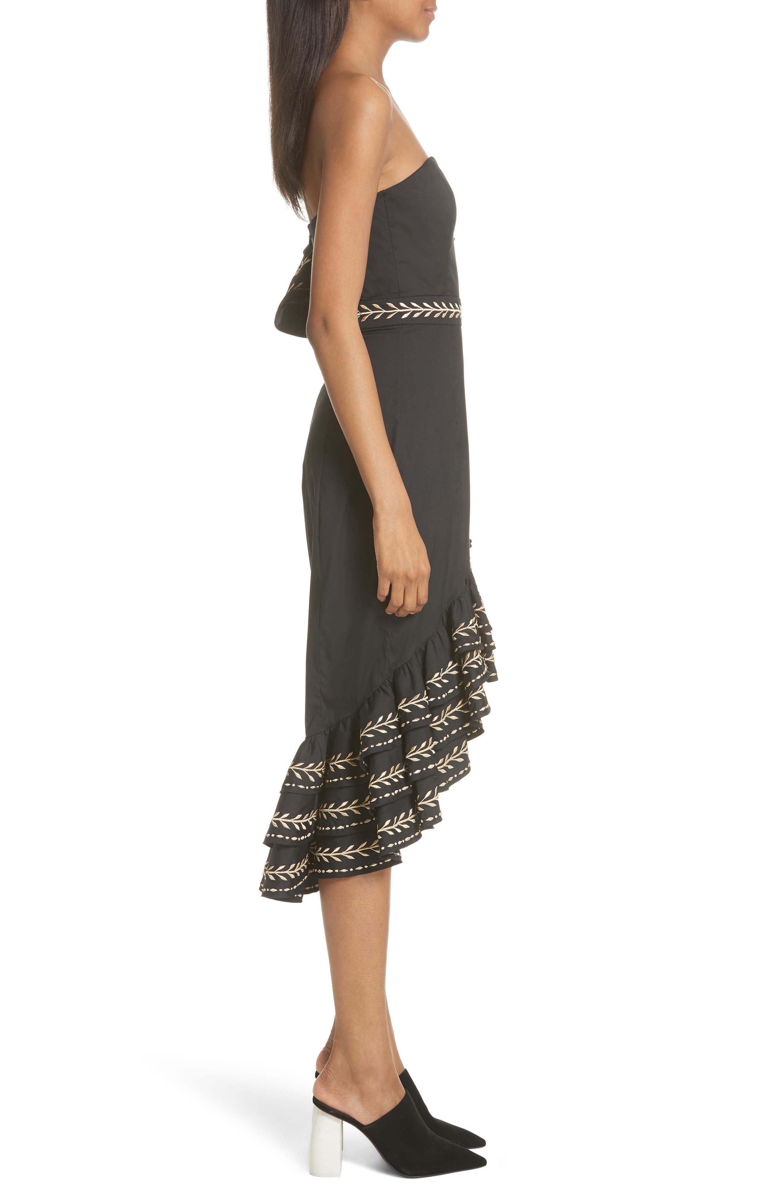 Cam Embroidered Asymmetrical Ruffle Dress,                             Alternate thumbnail 3, color,                             001