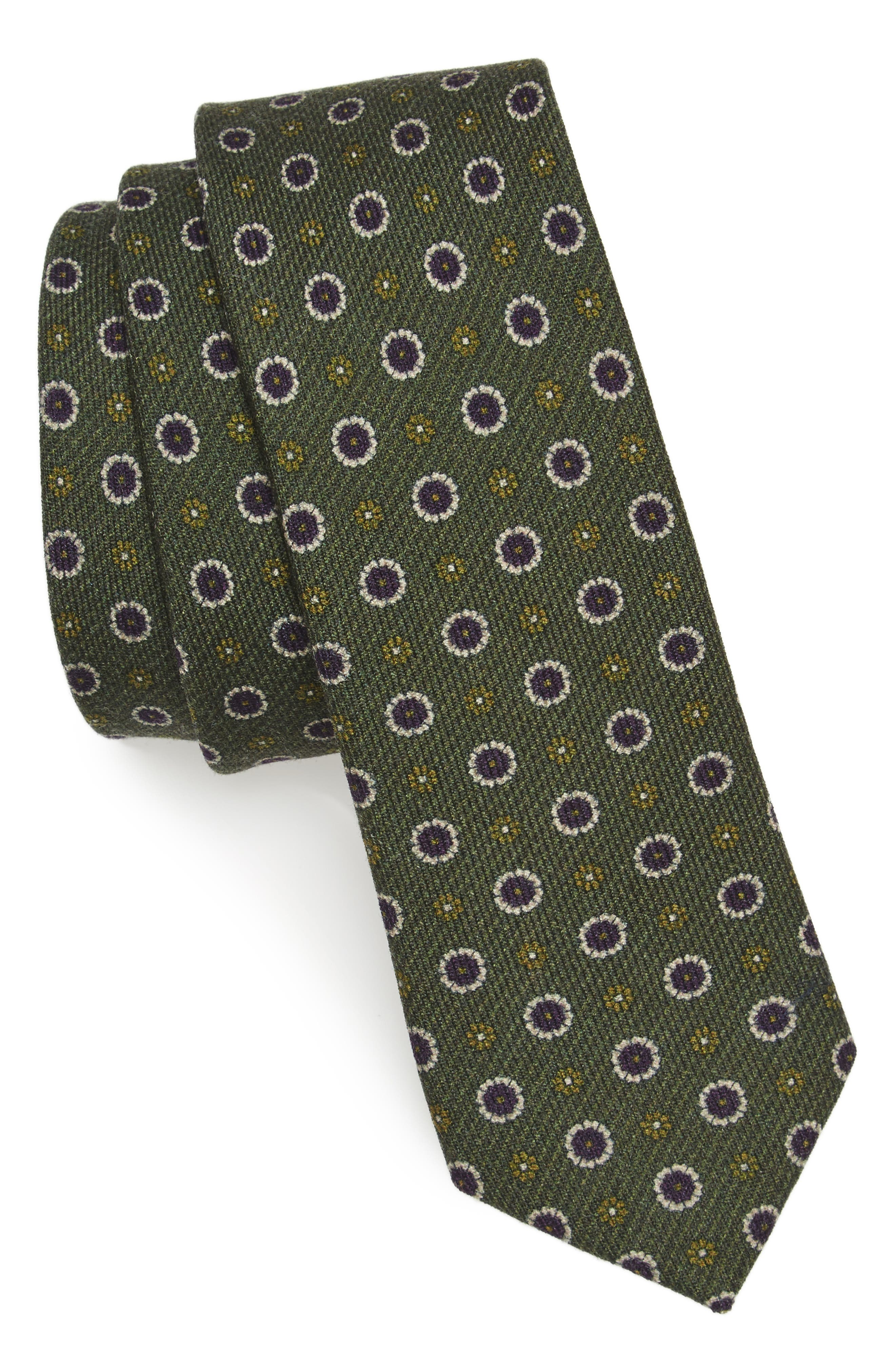 Floral Medallion Wool Tie,                         Main,                         color, 308