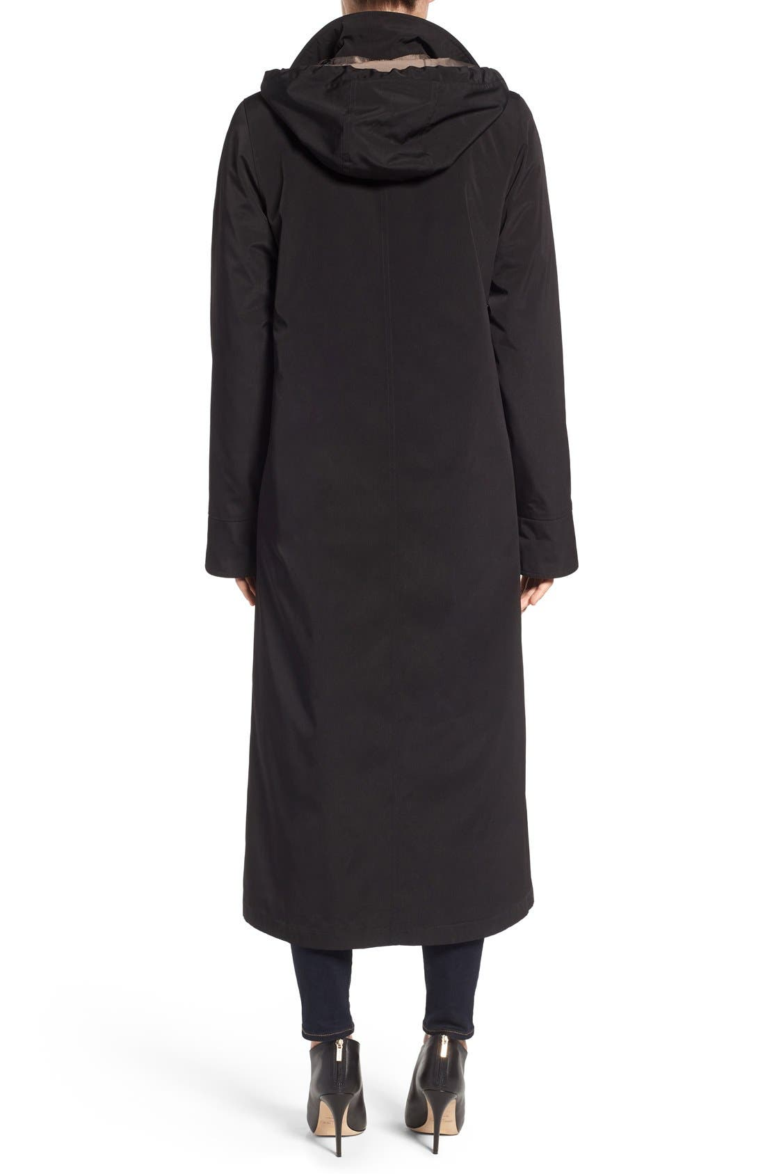 Full Length Two-Tone Silk Look Raincoat,                             Alternate thumbnail 6, color,                             BLACK
