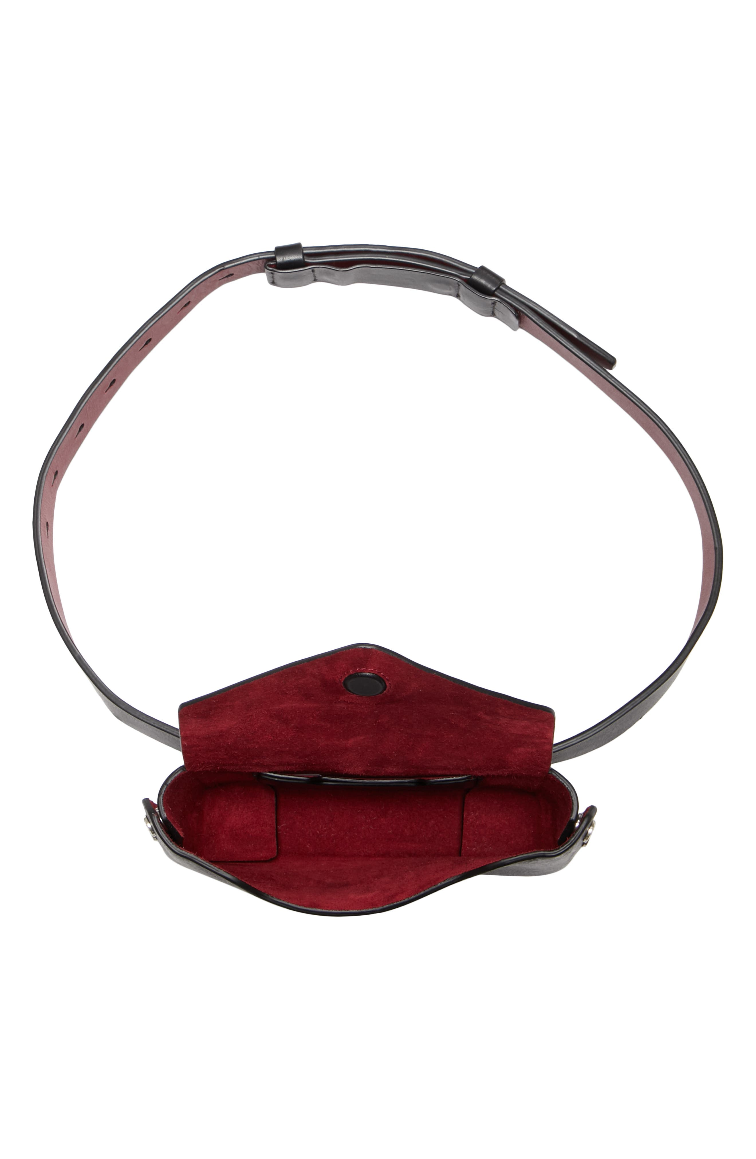 Atlas Leather Belt Bag,                             Alternate thumbnail 4, color,                             BLACK/ BIKING RED
