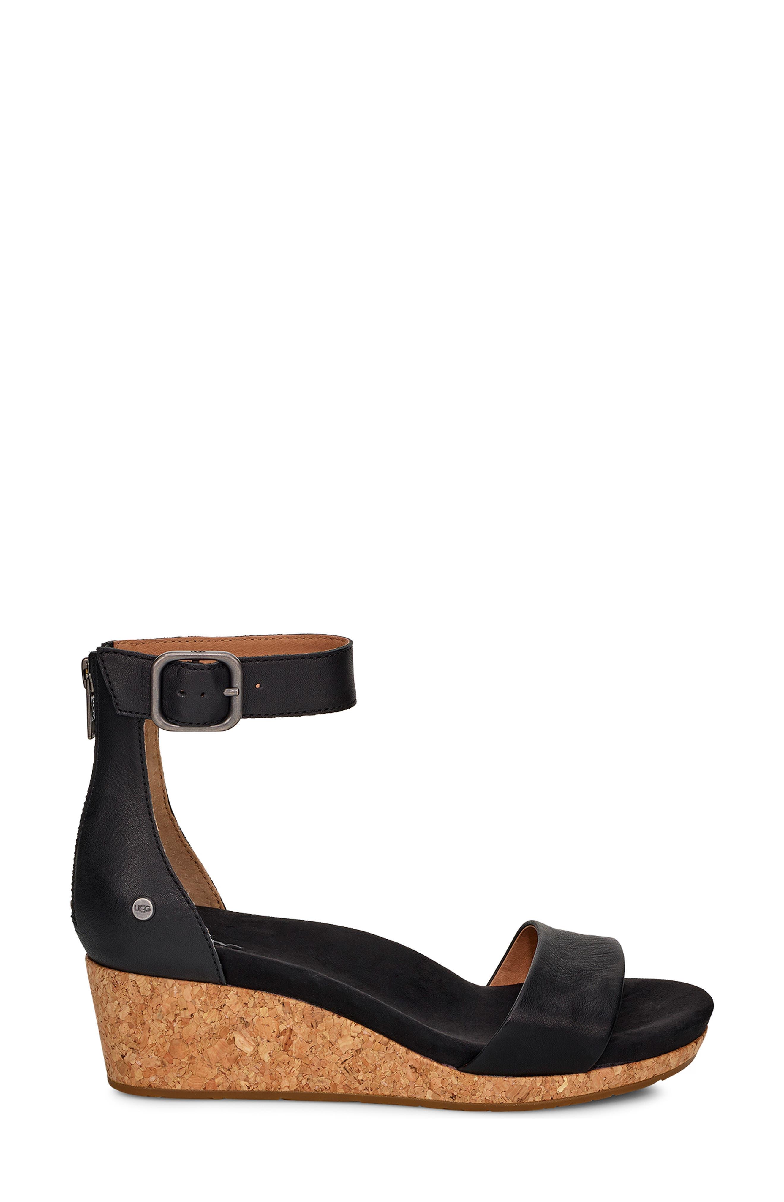 Zoe II Wedge Sandal,                             Alternate thumbnail 3, color,                             BLACK LEATHER