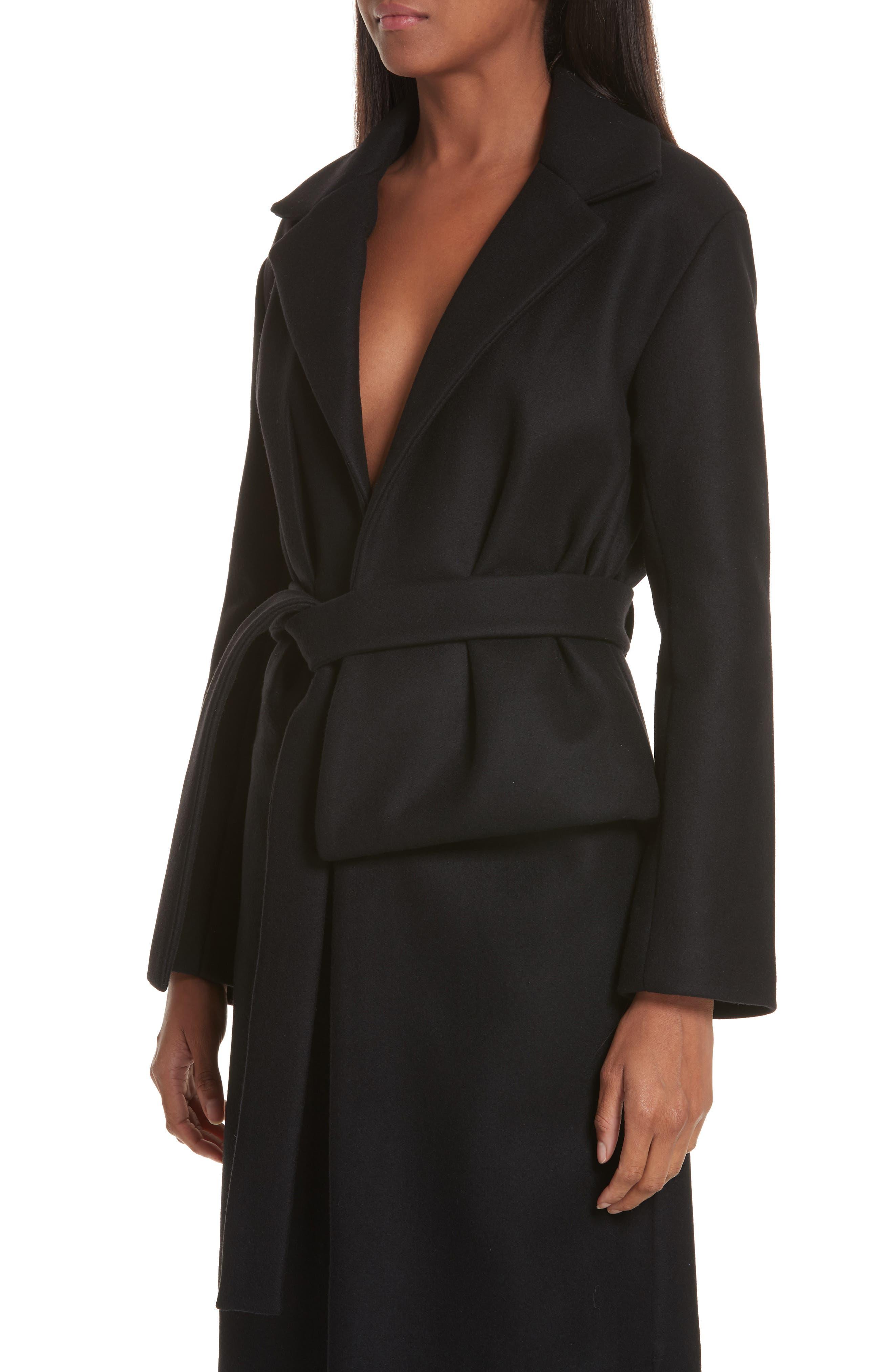 Le Manteau Aissa Belted Wool Blend Coat,                             Alternate thumbnail 4, color,                             001
