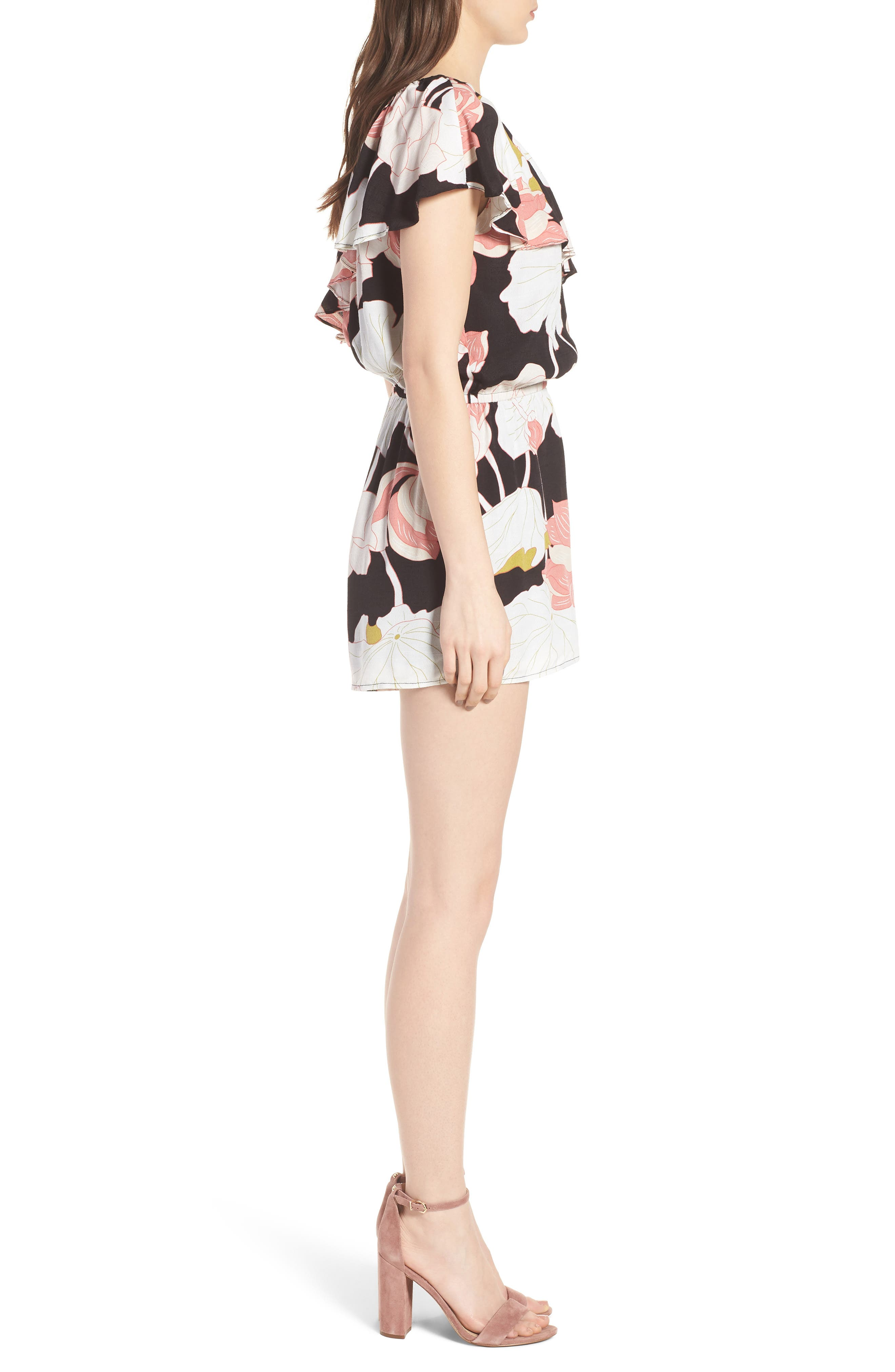 Arnett Water Lilies One-Shoulder Romper,                             Alternate thumbnail 3, color,                             001