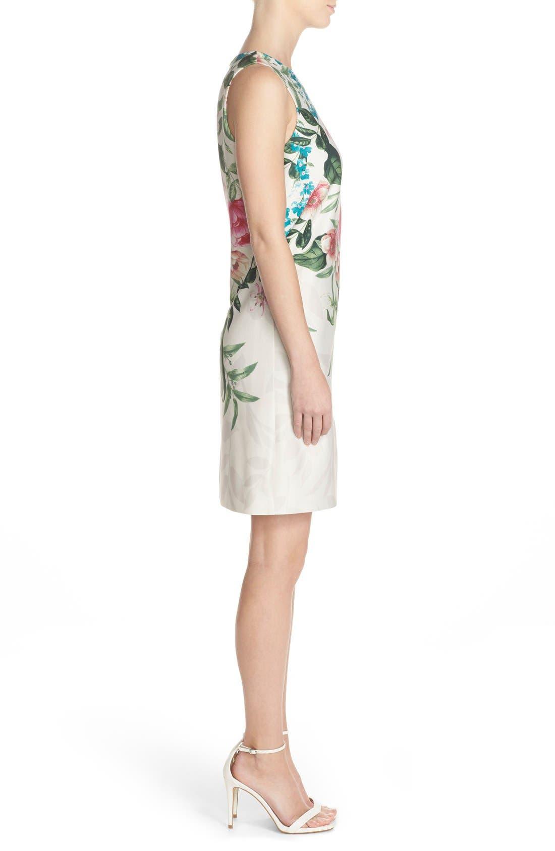 Placed Floral Print Stretch A-Line Dress,                             Alternate thumbnail 3, color,