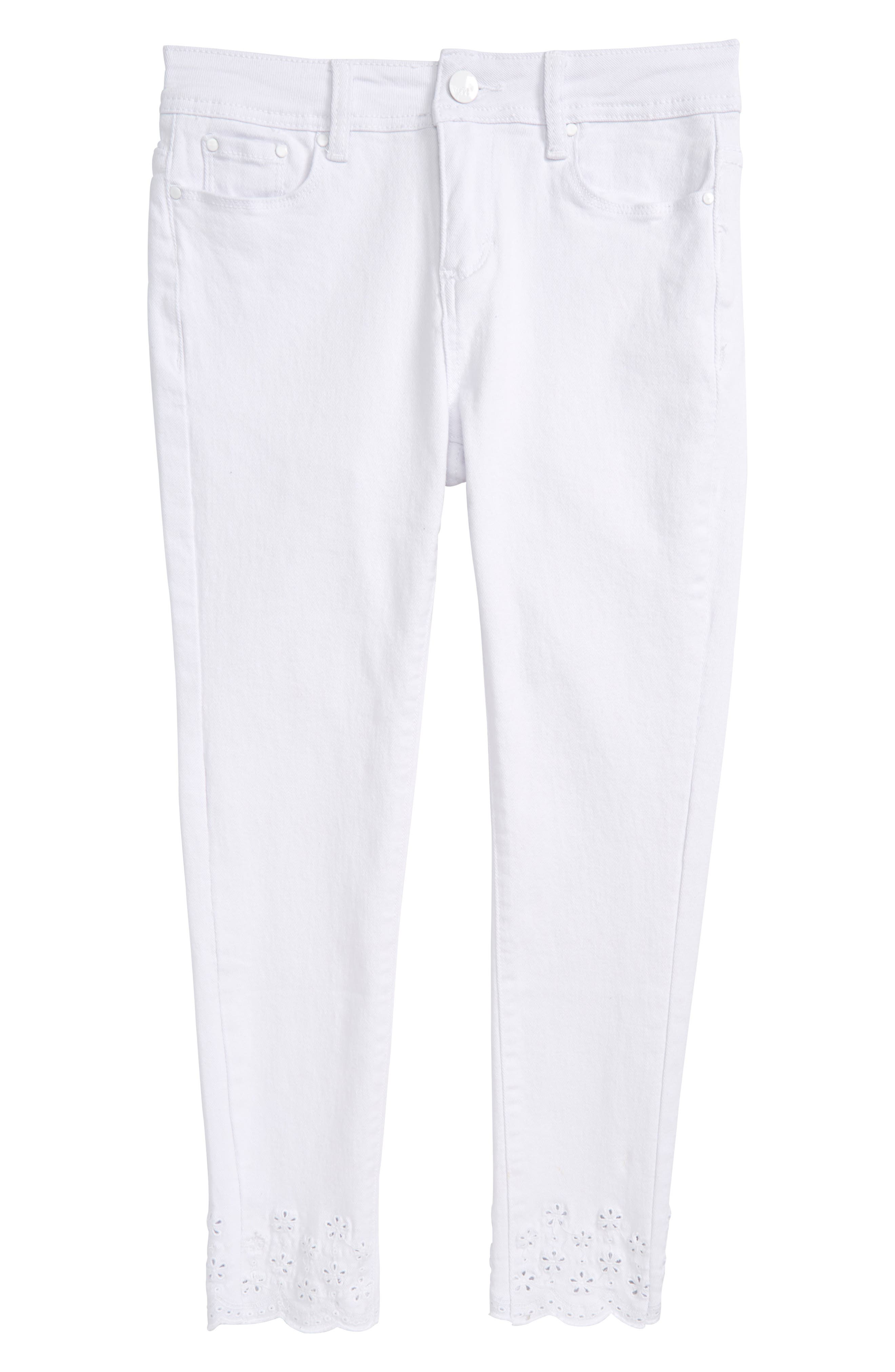 Broderie Anglaise Hem Skinny Jeans,                         Main,                         color, 100