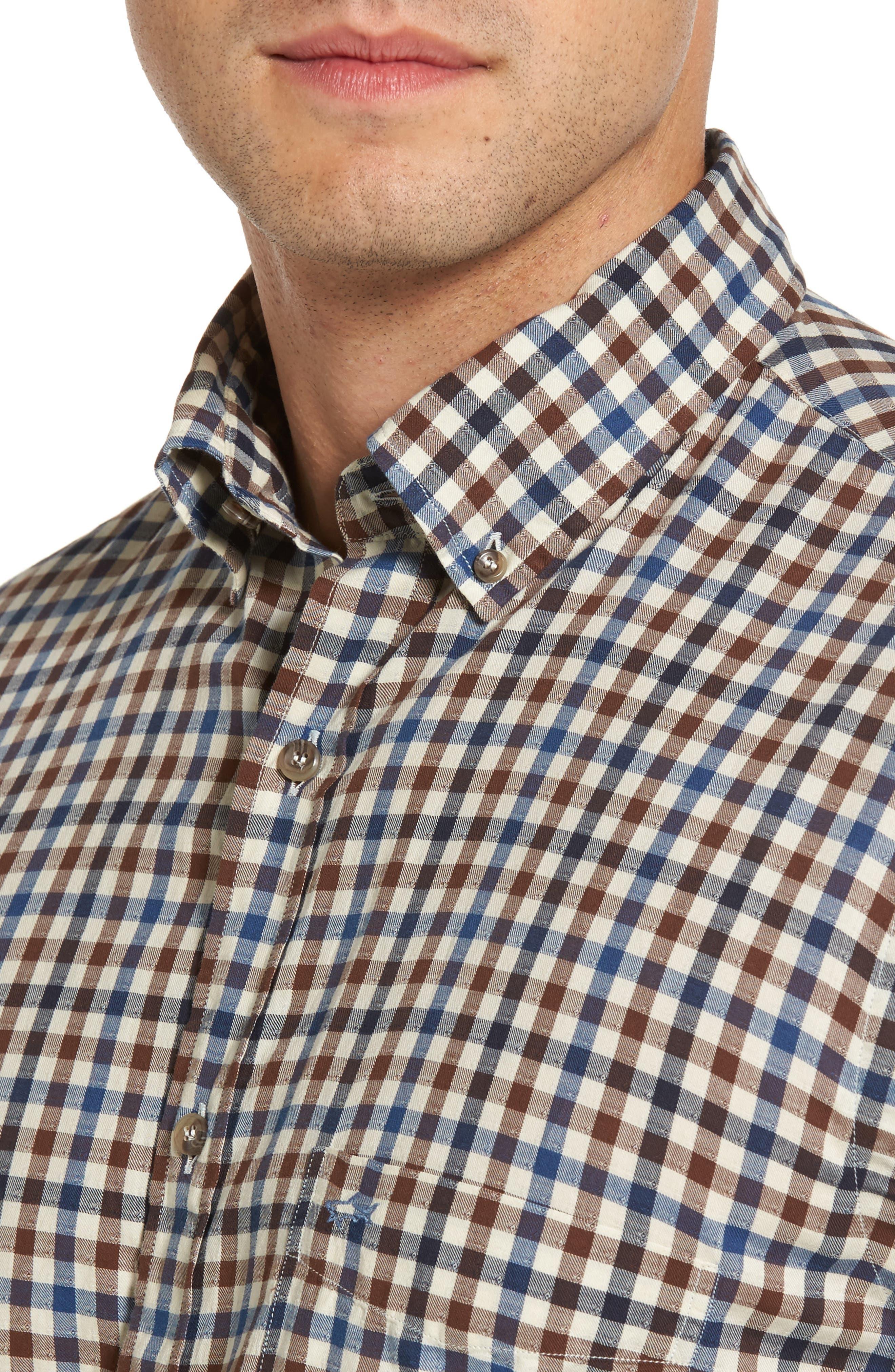 Paul&Shark Jacquard Check Sport Shirt,                             Alternate thumbnail 4, color,                             200