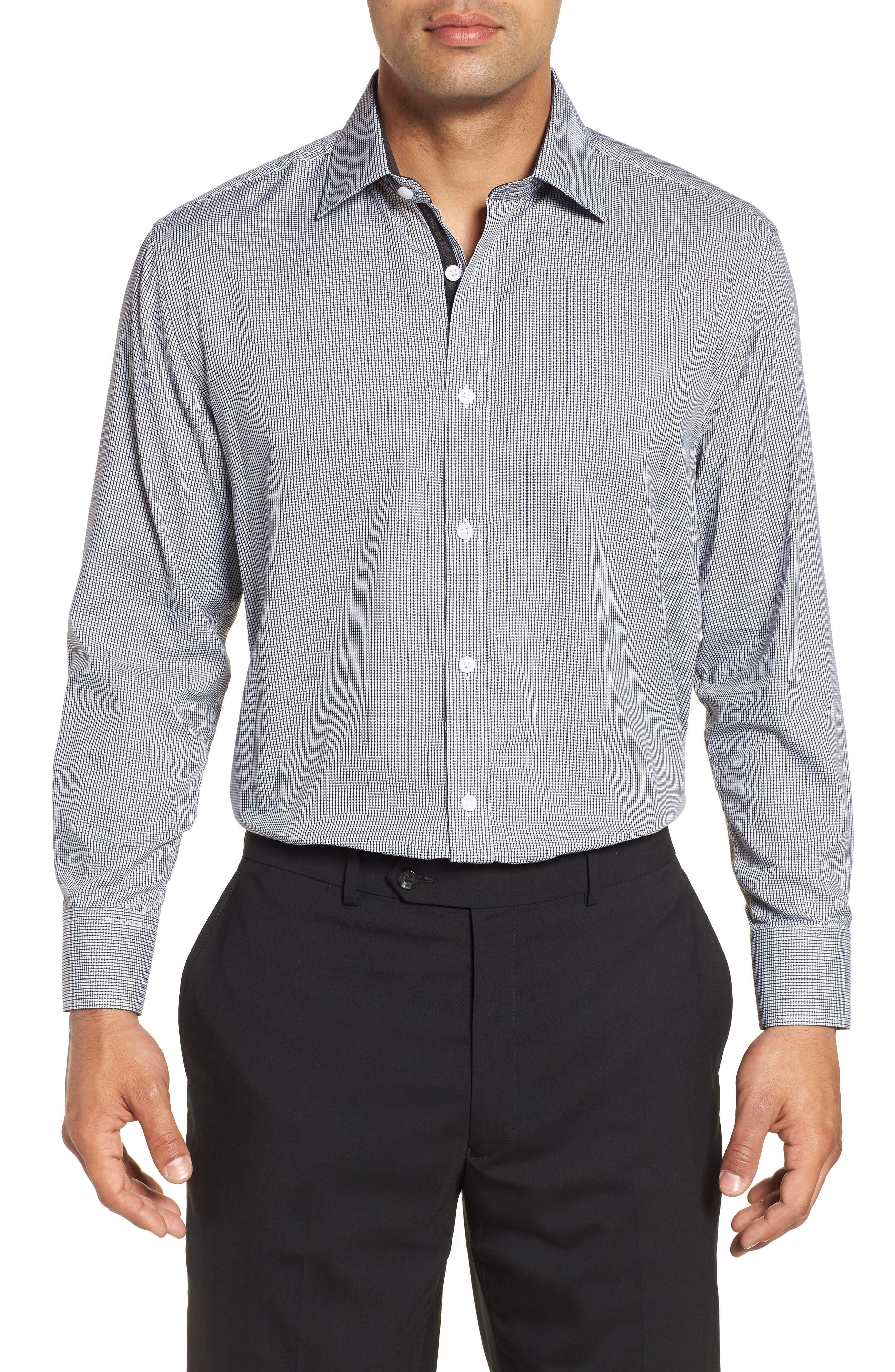 ENGLISH LAUNDRY,                             Regular Fit Check Dress Shirt,                             Main thumbnail 1, color,                             001