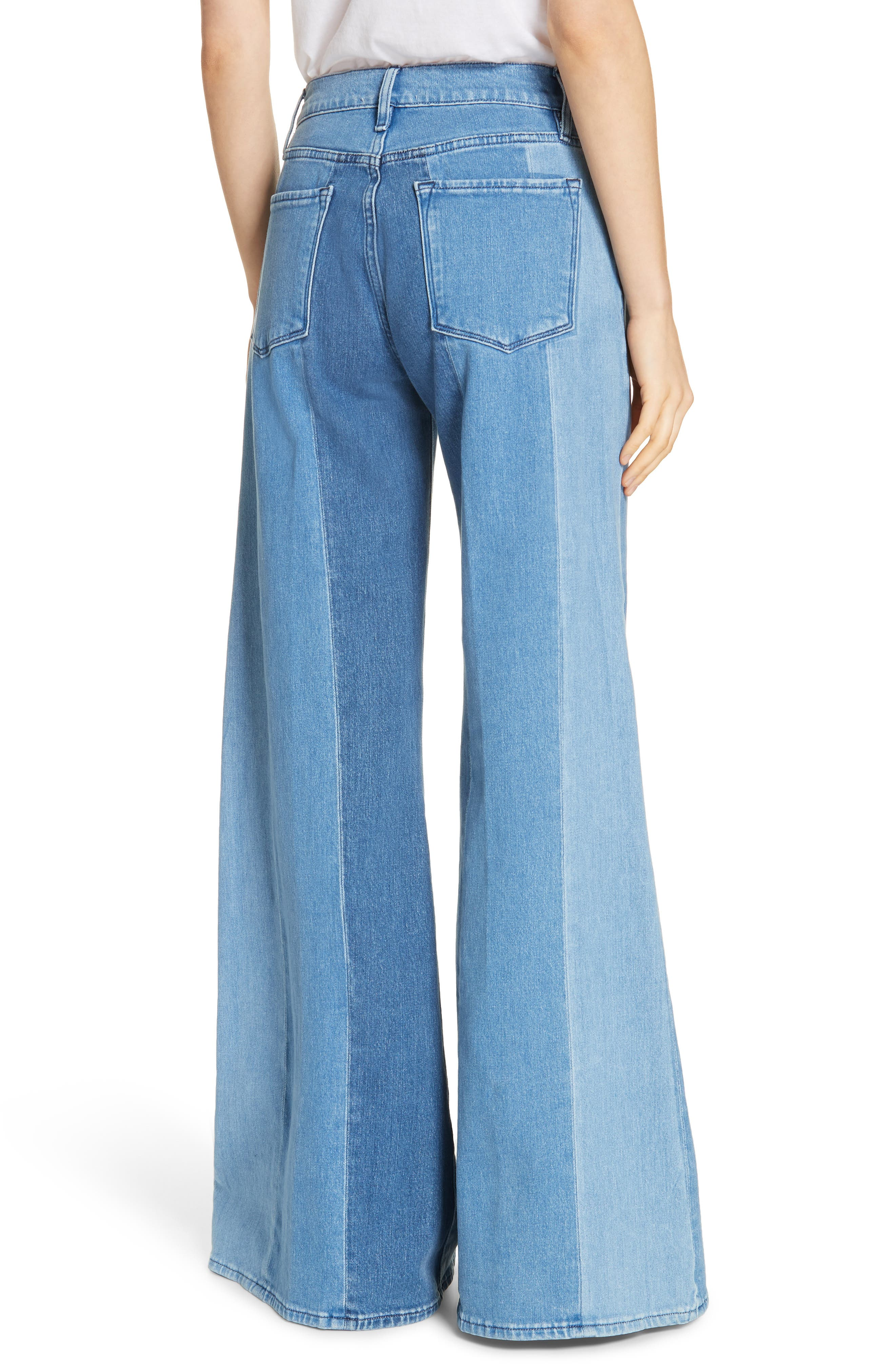 Le Palazzo Paneled Wide Leg Jeans,                             Alternate thumbnail 2, color,                             VINEYARD