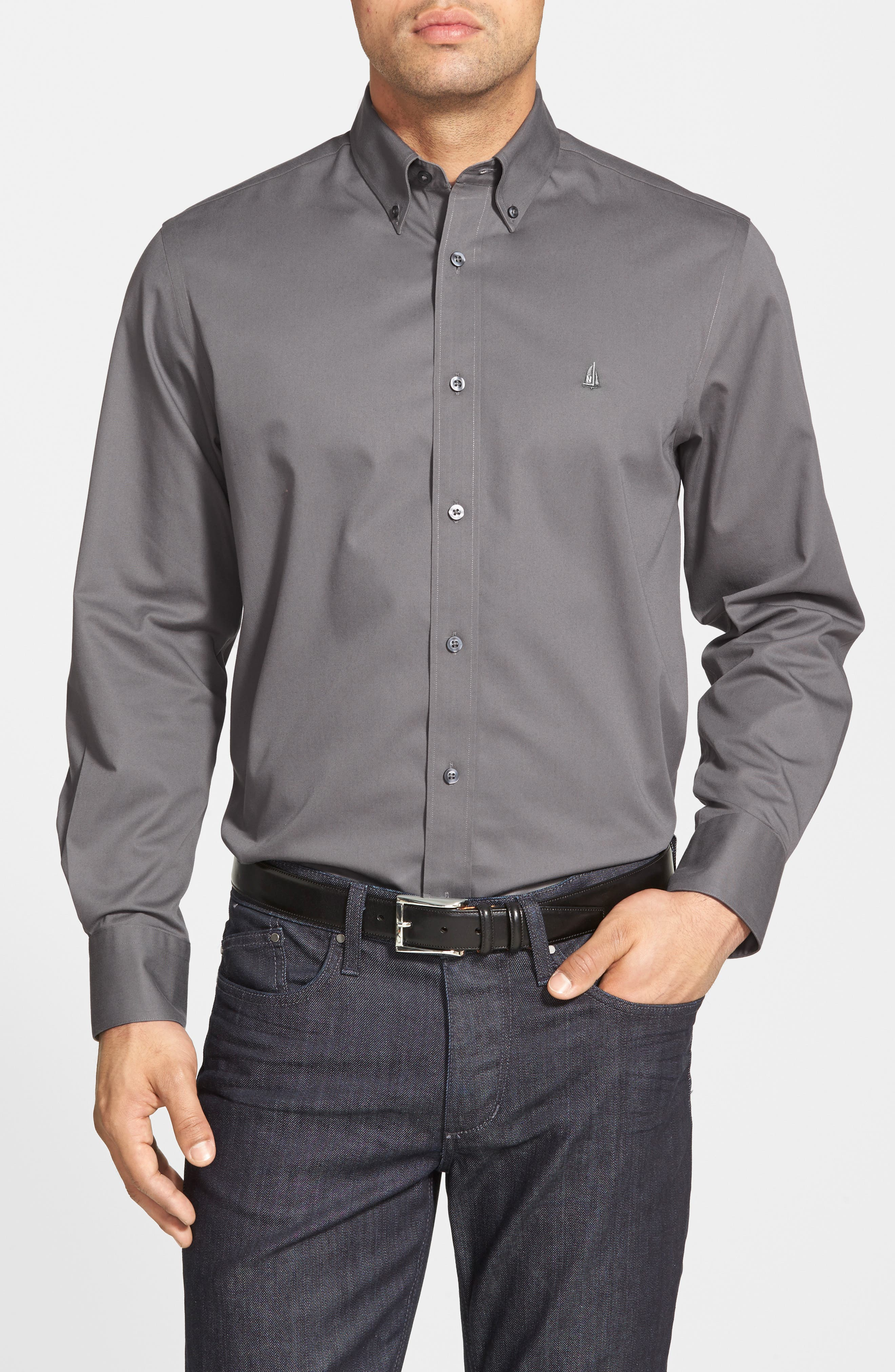 Nordstrom Shop Smartcare(TM) Traditional Fit Twill Boat Shirt, Grey