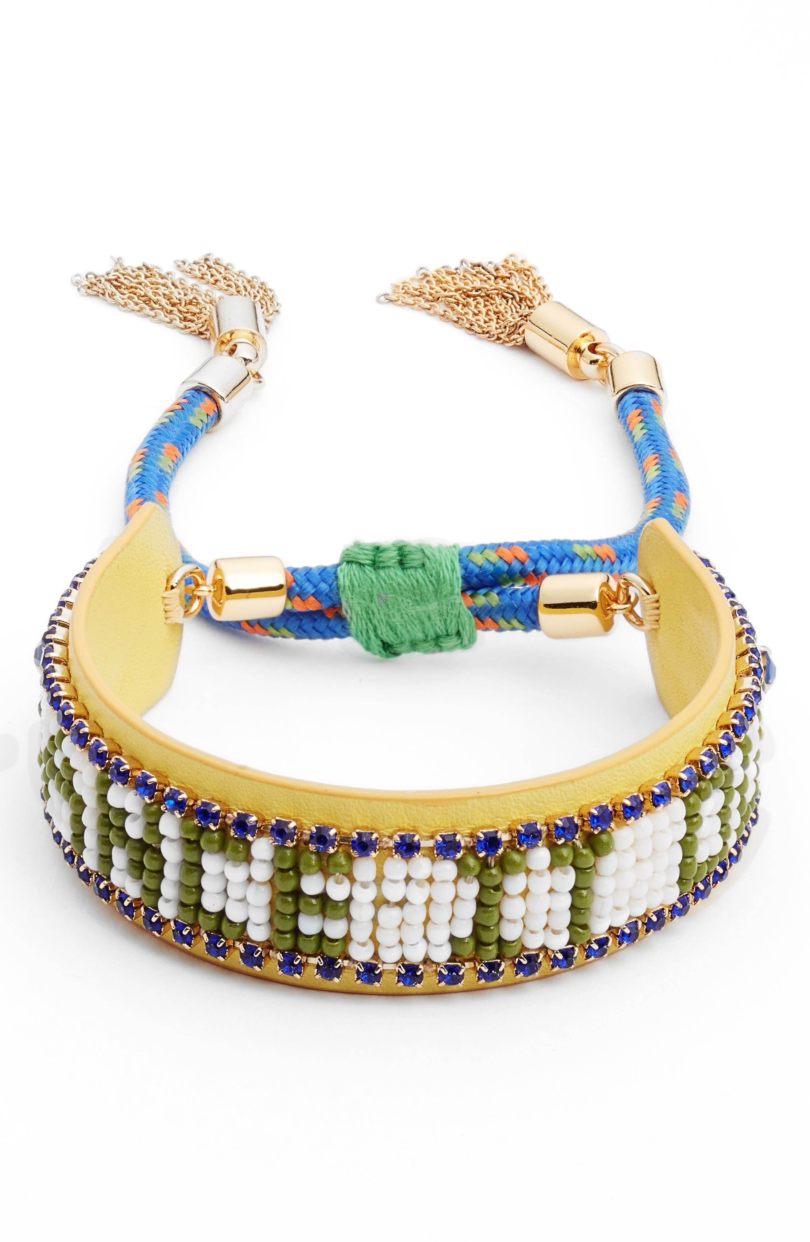 Dance It Out Seed Bead Bracelet,                             Main thumbnail 1, color,                             YELLOW MULTI