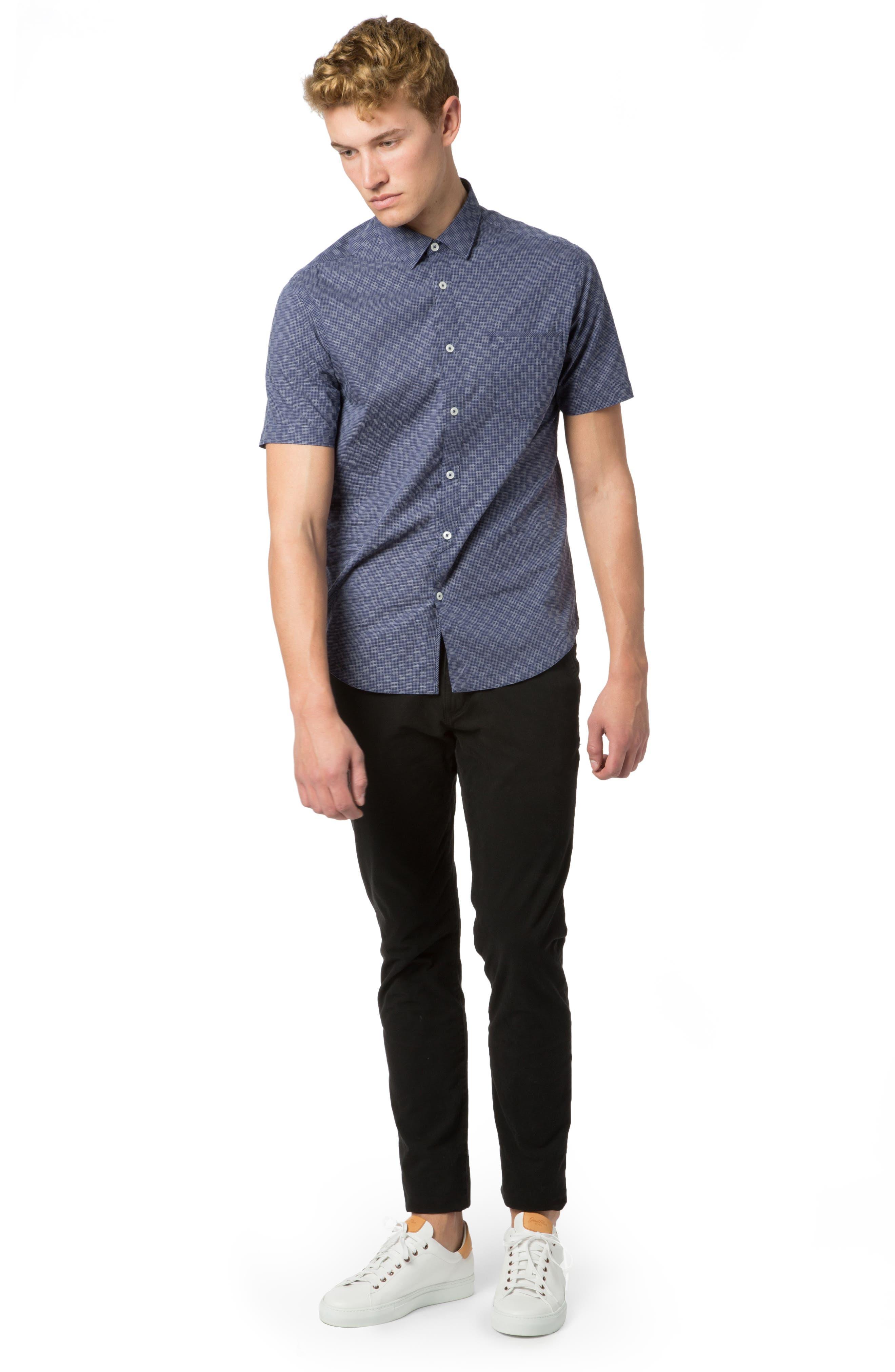 Trim Fit Graph Print Sport Shirt, Main, color, NAVY