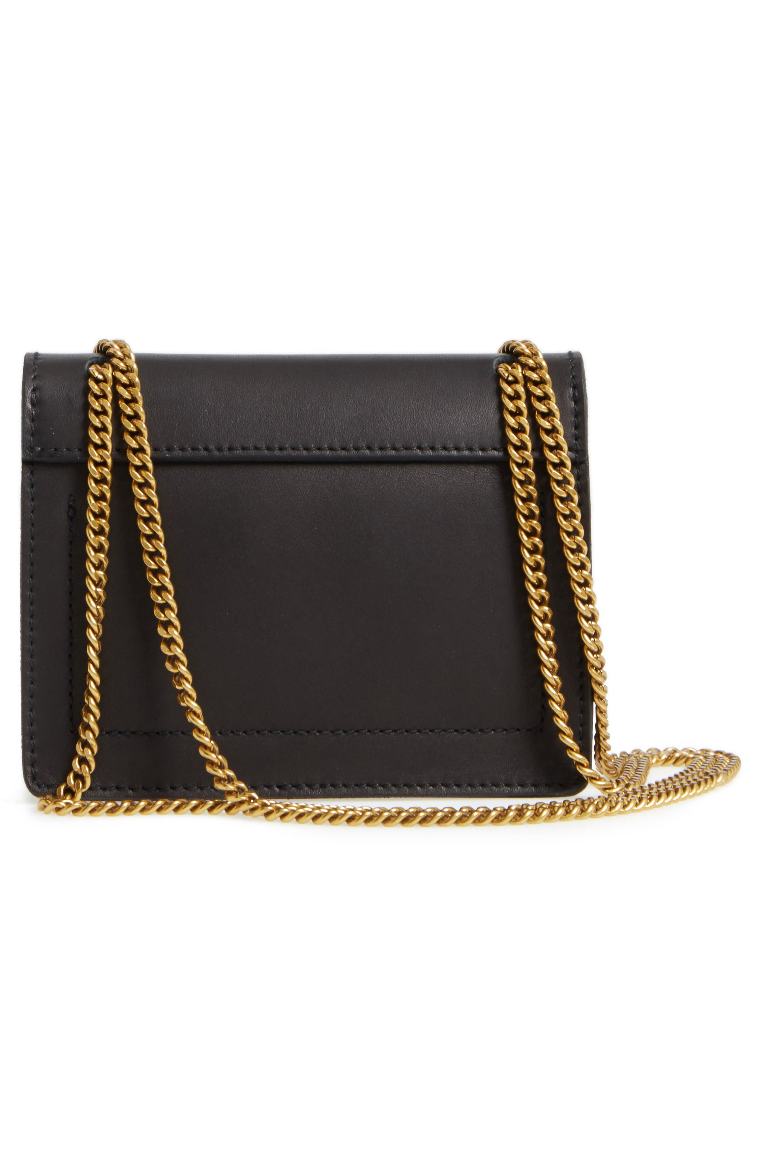 Chain Leather Crossbody Bag,                             Alternate thumbnail 3, color,                             001