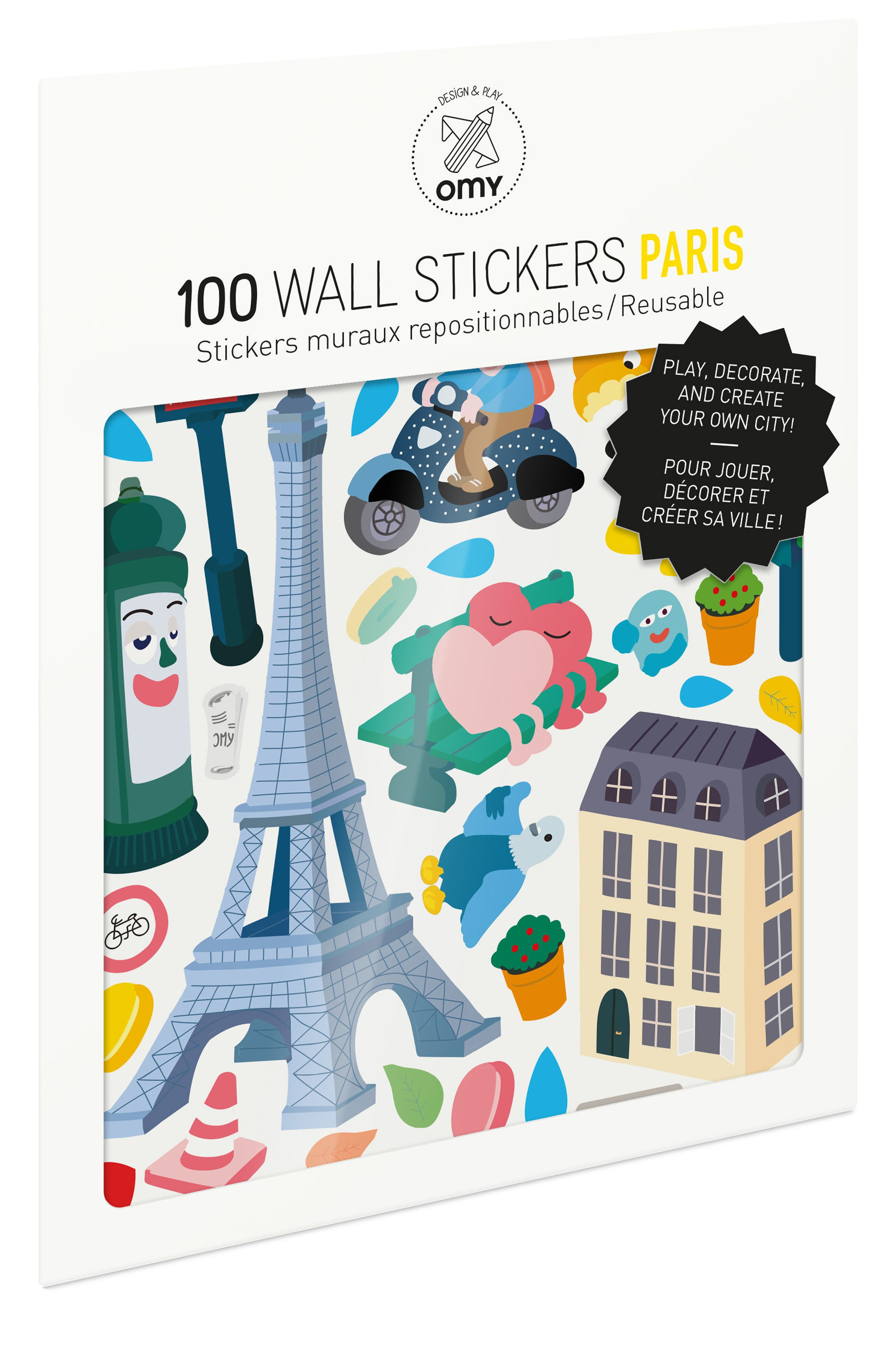 Set of 100 Paris Reusable Wall Stickers,                         Main,                         color,