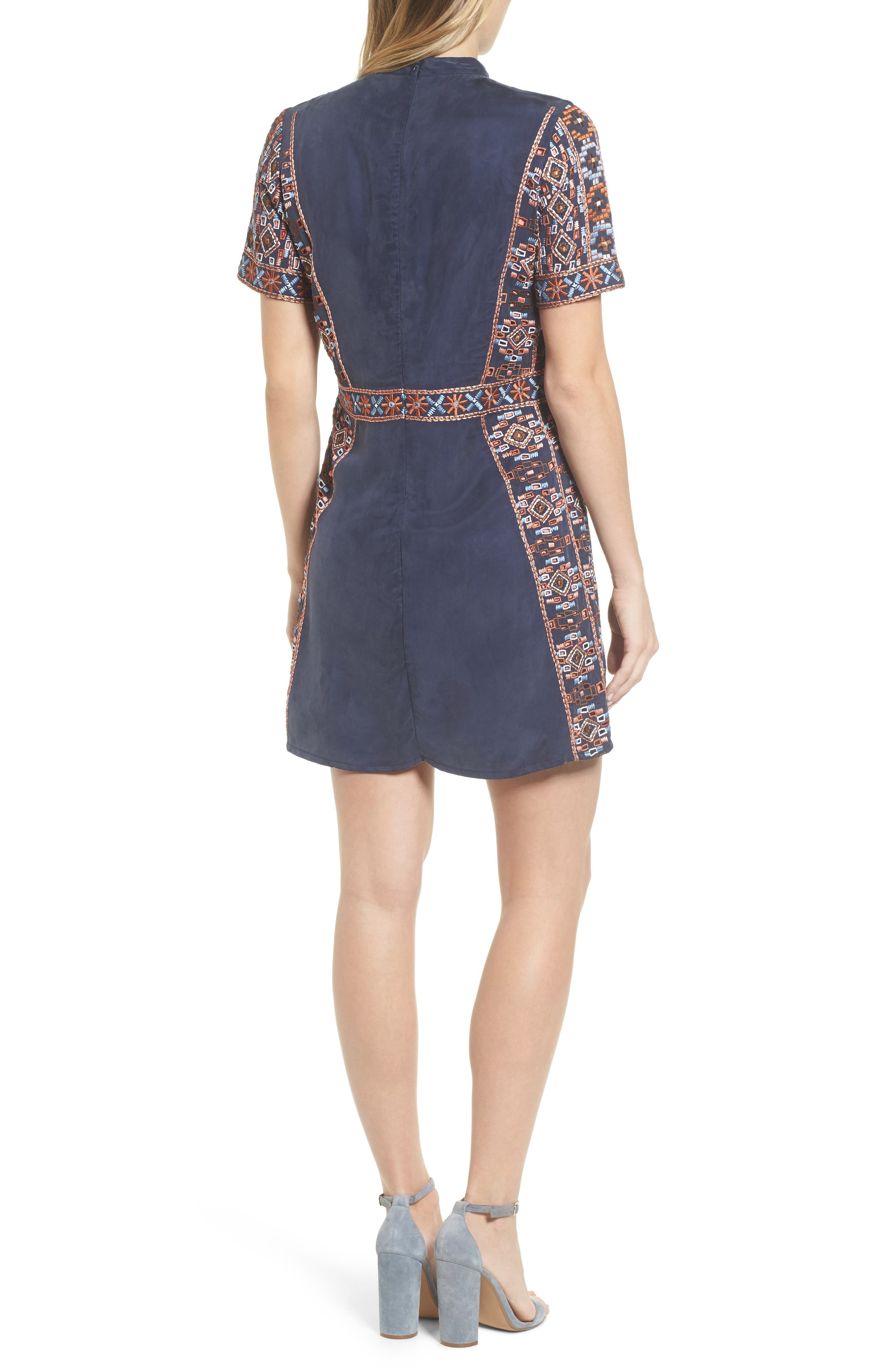 Luton Embroidered A-Line Dress,                             Alternate thumbnail 2, color,                             NAVY