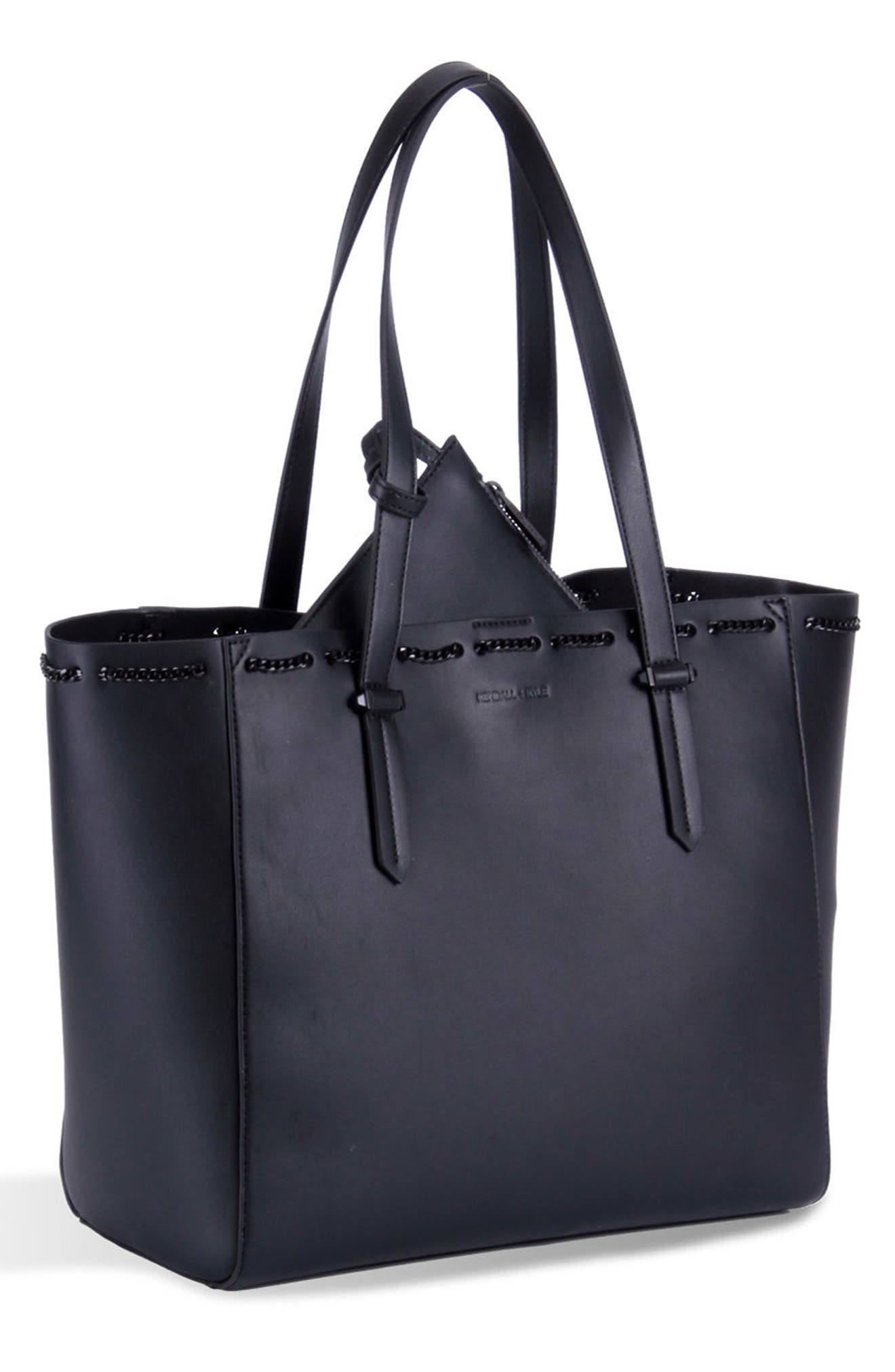 Izzy Chain Faux Leather Tote,                             Main thumbnail 1, color,                             001