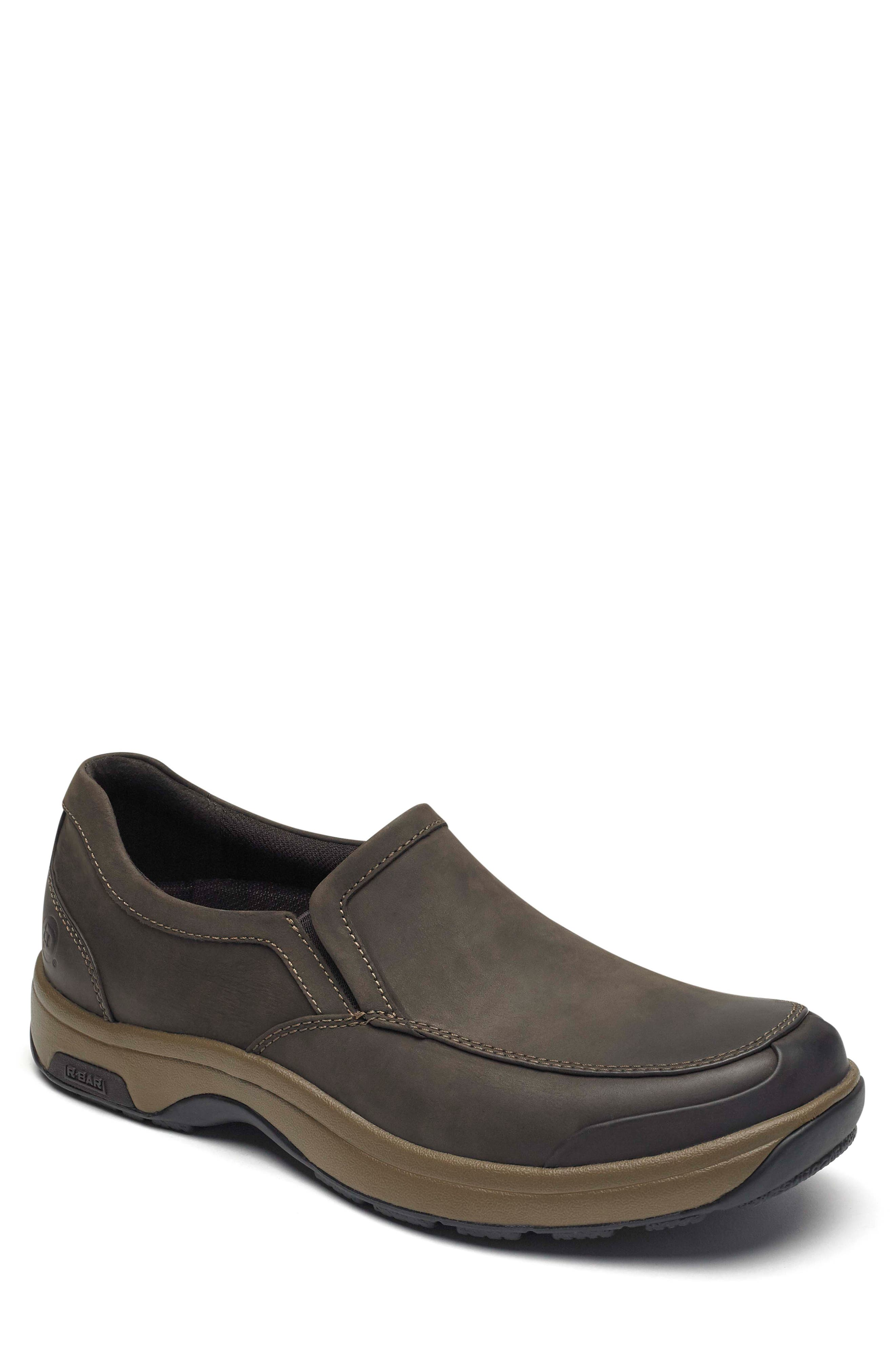 Battery Park Waterproof Slip-On,                             Main thumbnail 1, color,                             BROWN LEATHER