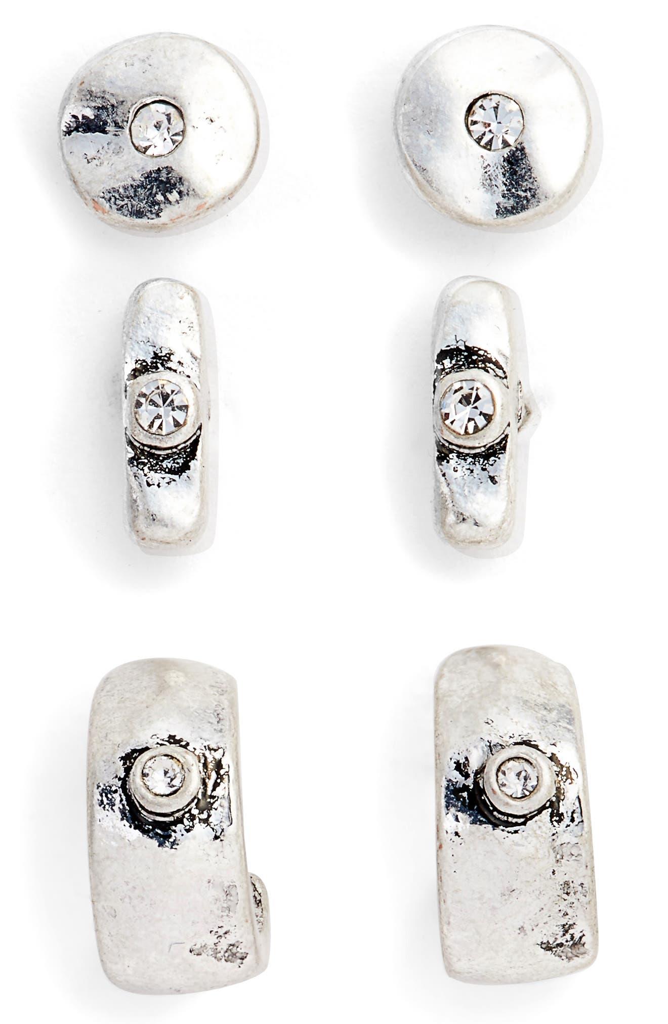 Set of Three Stud Earrings,                         Main,                         color, 040