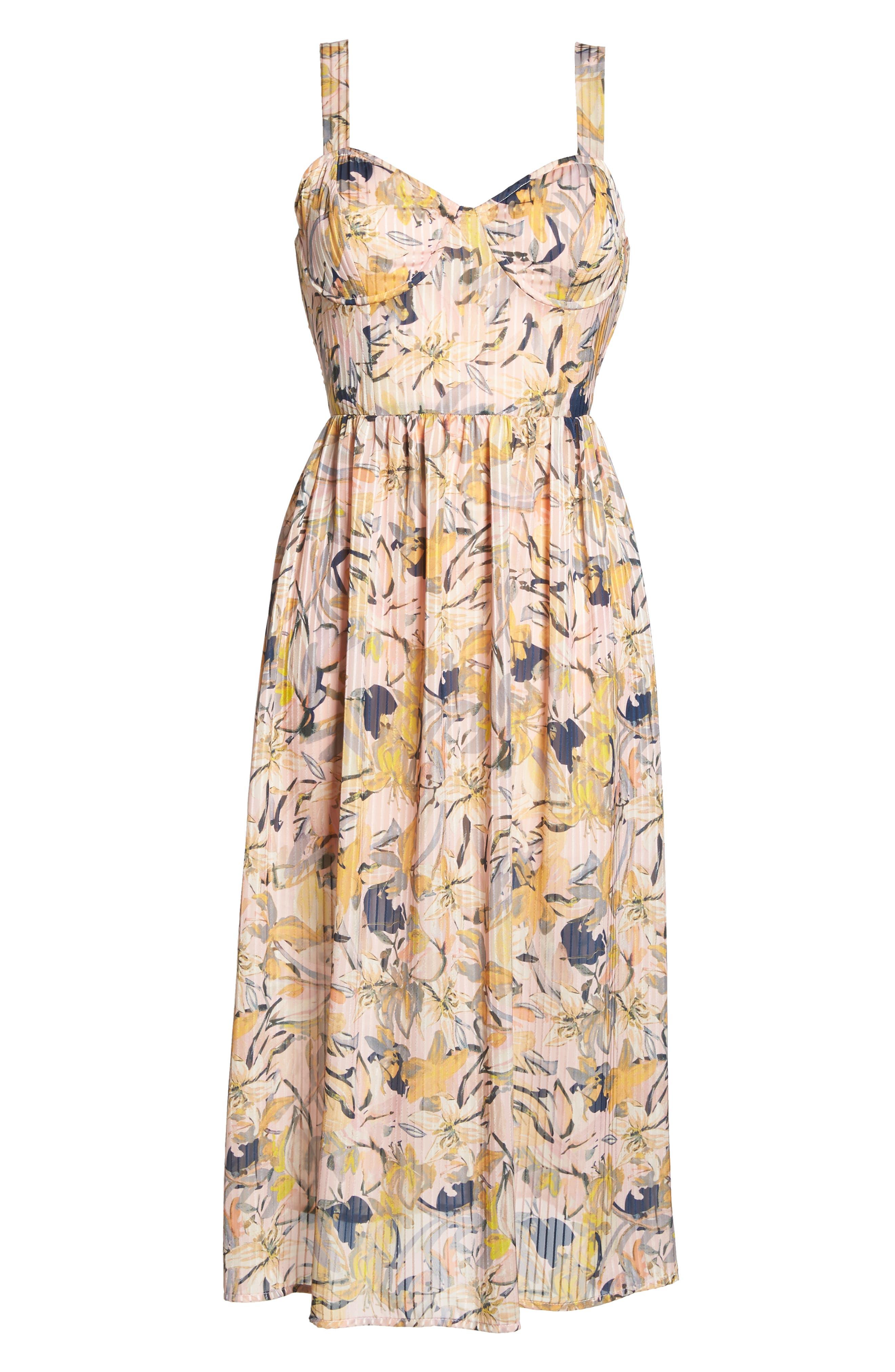 Marie Floral Bustier Midi Dress,                             Alternate thumbnail 7, color,                             650